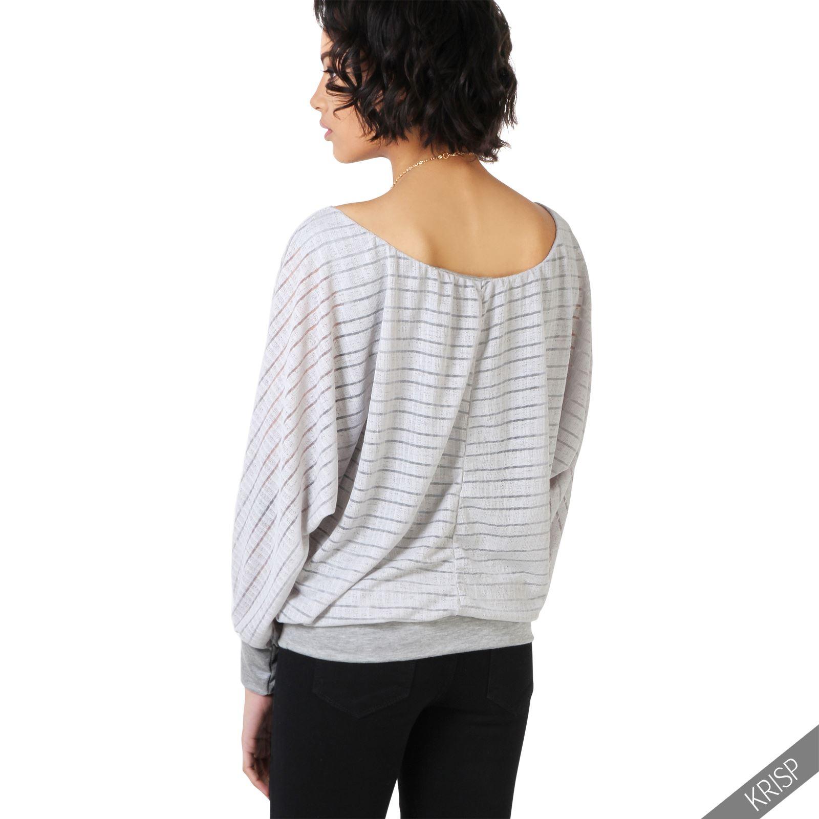 damen elegante bluse fledermaus oberteil gestreiftes shirt. Black Bedroom Furniture Sets. Home Design Ideas