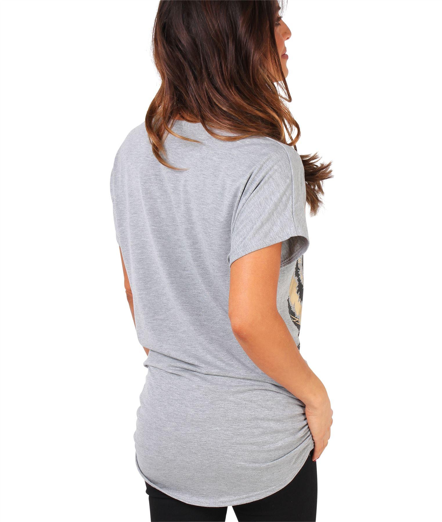 Womens-Oversized-Batwing-T-Shirt-Ladies-Baggy-Animal-Tiger-Blouse-Print-Top thumbnail 11