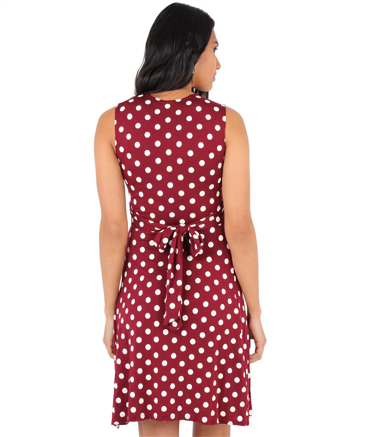 Womens-Polka-Dot-Retro-Dress-Pleated-Skirt-Wrap-Mini-V-Neck-Top-Swing-Party thumbnail 40