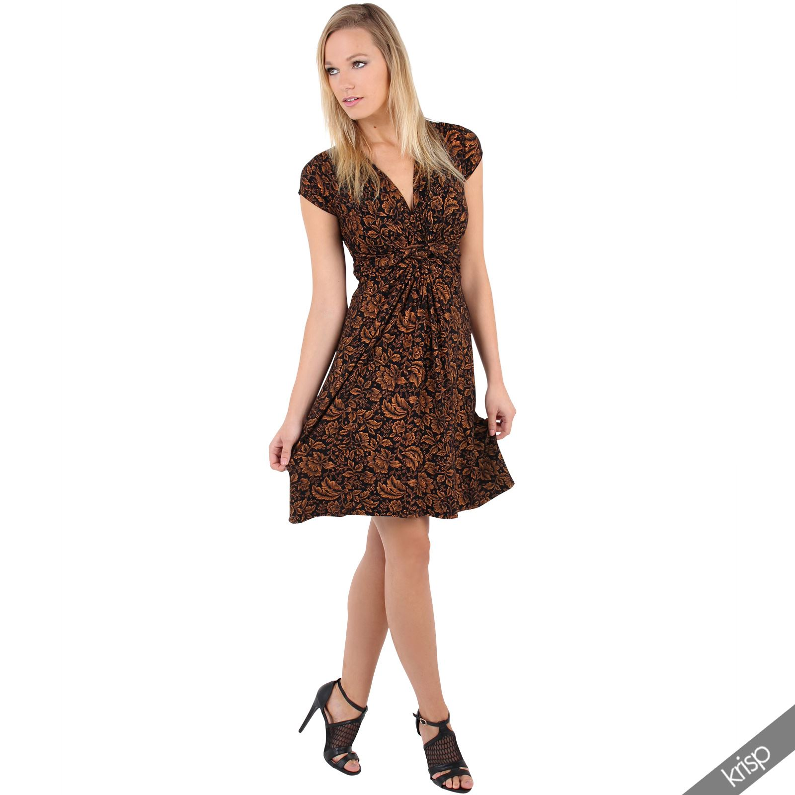 Womens-Ladies-V-Neck-Mini-Midi-Dress-Floral-Print-Knot-Short-Skirt-Party-Casual thumbnail 12