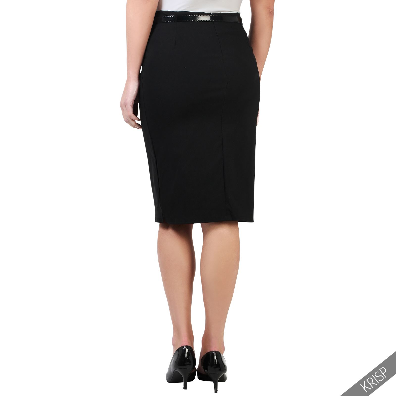 Womens Ladies Stretch Fitted Pencil Belt Midi Bodycon ...
