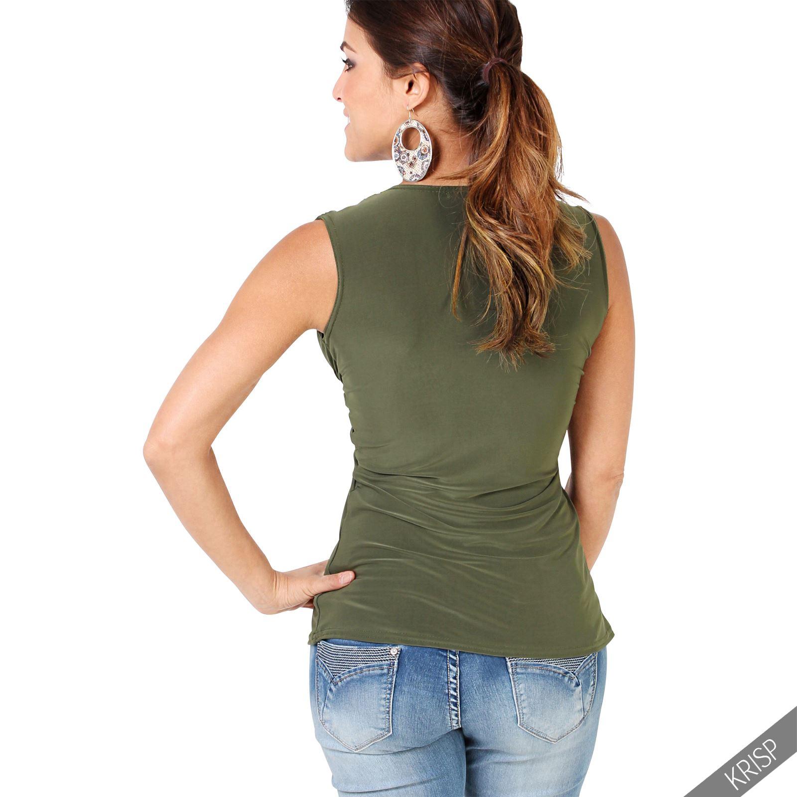 Femmes-Haut-Debardeur-T-shirt-Tee-Shirt-Top-Sans-Manche-Uni-Affaires-Ete-Plage miniature 6