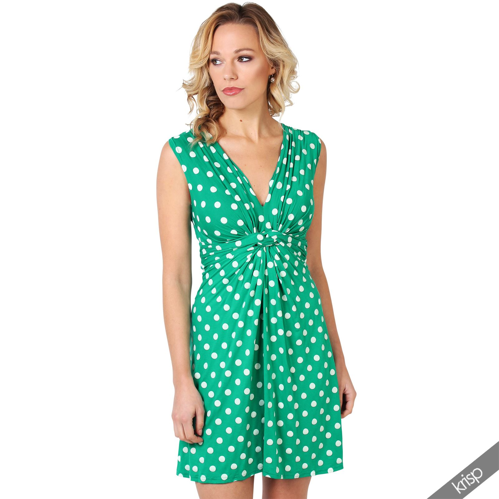 Womens-Polka-Dot-Retro-Dress-Pleated-Skirt-Wrap-Mini-V-Neck-Top-Swing-Party thumbnail 16