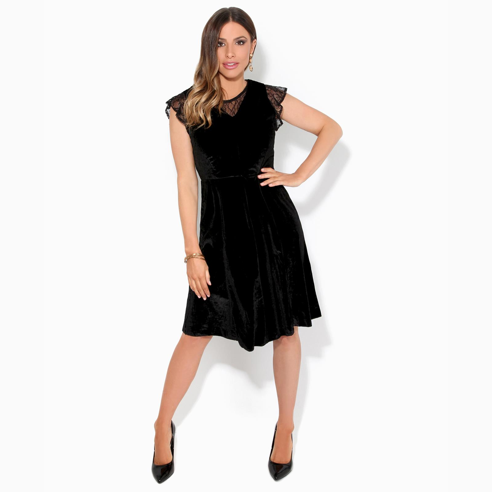 Women-Ladies-Lace-Velvet-Party-Midi-Skater-Dress-Stretch-Fit-Flared-Sexy-Evening thumbnail 3