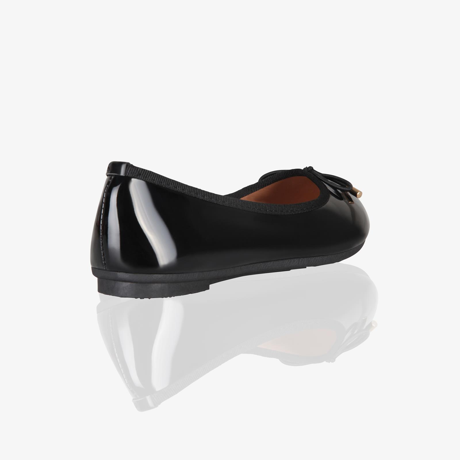 Womens-Ladies-Patent-Flat-Shoes-Ballerina-Ballet-Dolly-Court-Pumps-Slip-On-Bow thumbnail 4