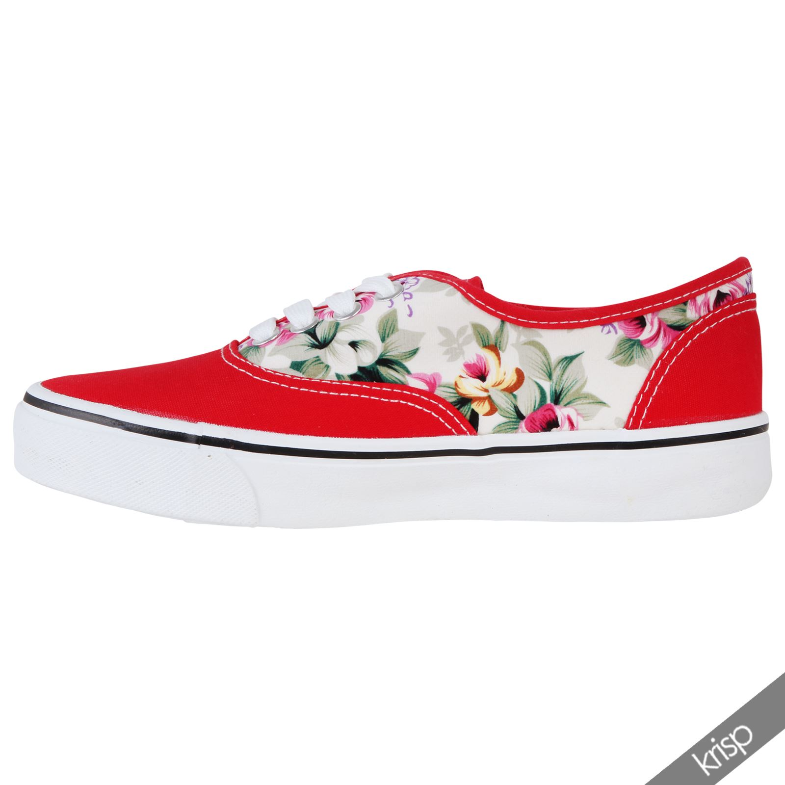 2306e71bcc463 Women Ladies Floral Glitter Slip On Plimsolls Trainers Sneakers ...