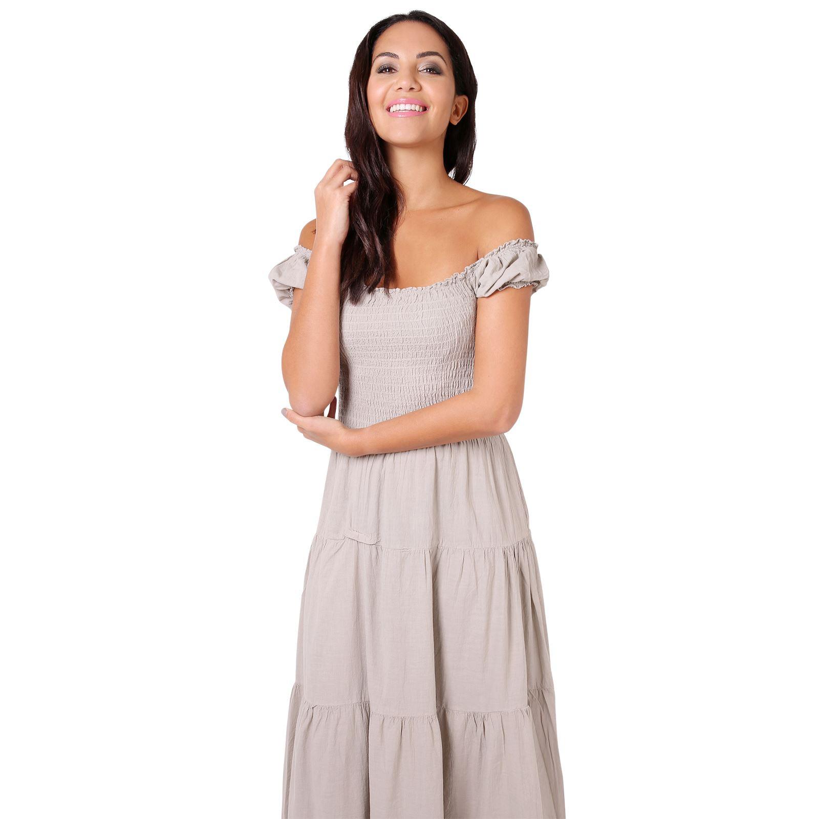 Damen Boho Maxi Kleid Einfarbig Bodenlang Baumwolle Sommer Urlaub ... cfc3f60f99