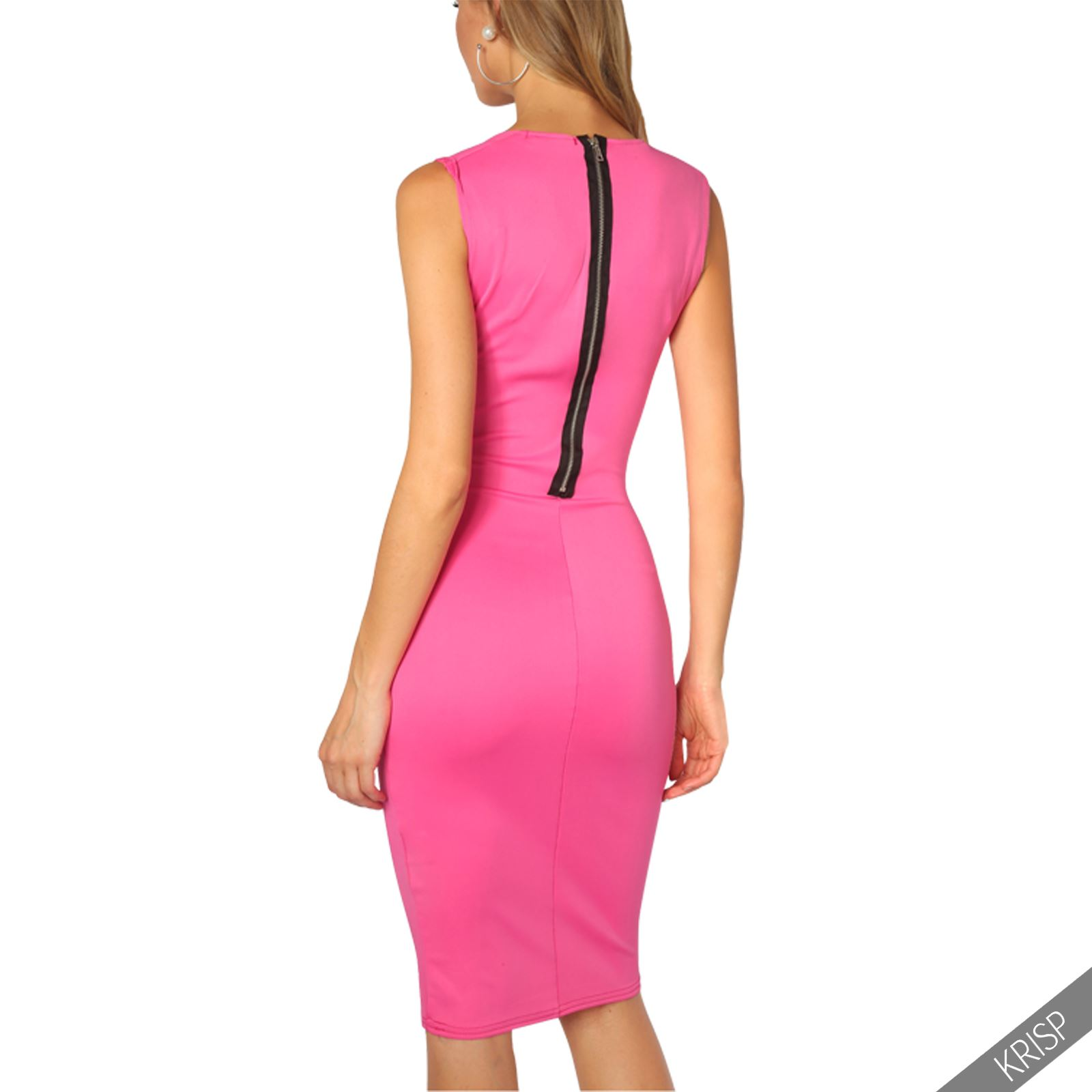 Womens-Pencil-Midi-Bodycon-Dress-Square-Neck-Panelled-Sexy-Zip-Party-Evening thumbnail 7