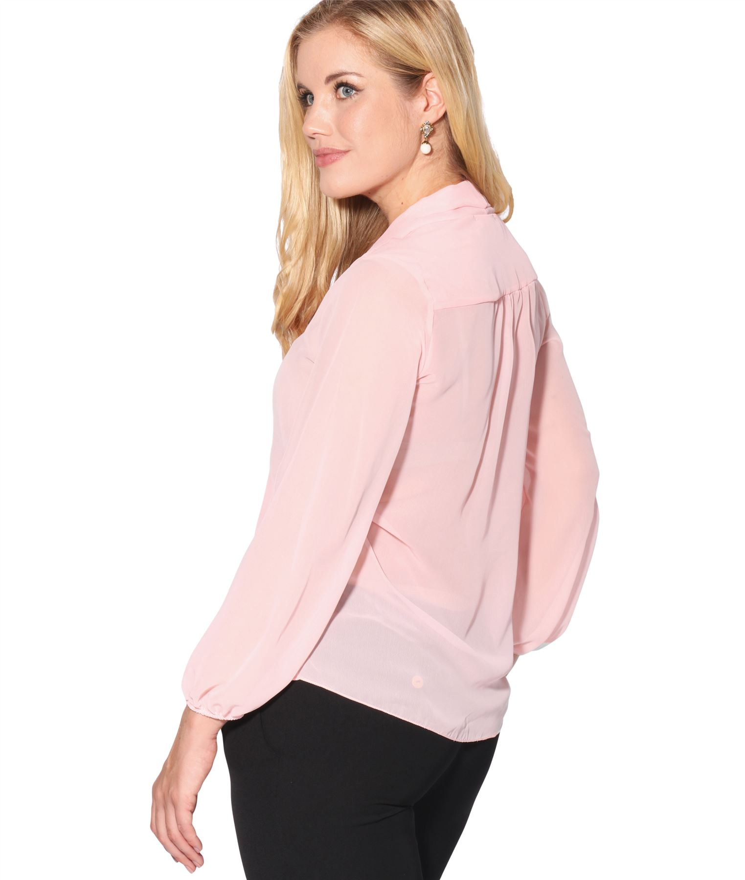 Womens-Ladies-Chiffon-Blouse-Long-Sleeve-Pussy-Bow-Top-Plain-Shirt-Office-Party thumbnail 3