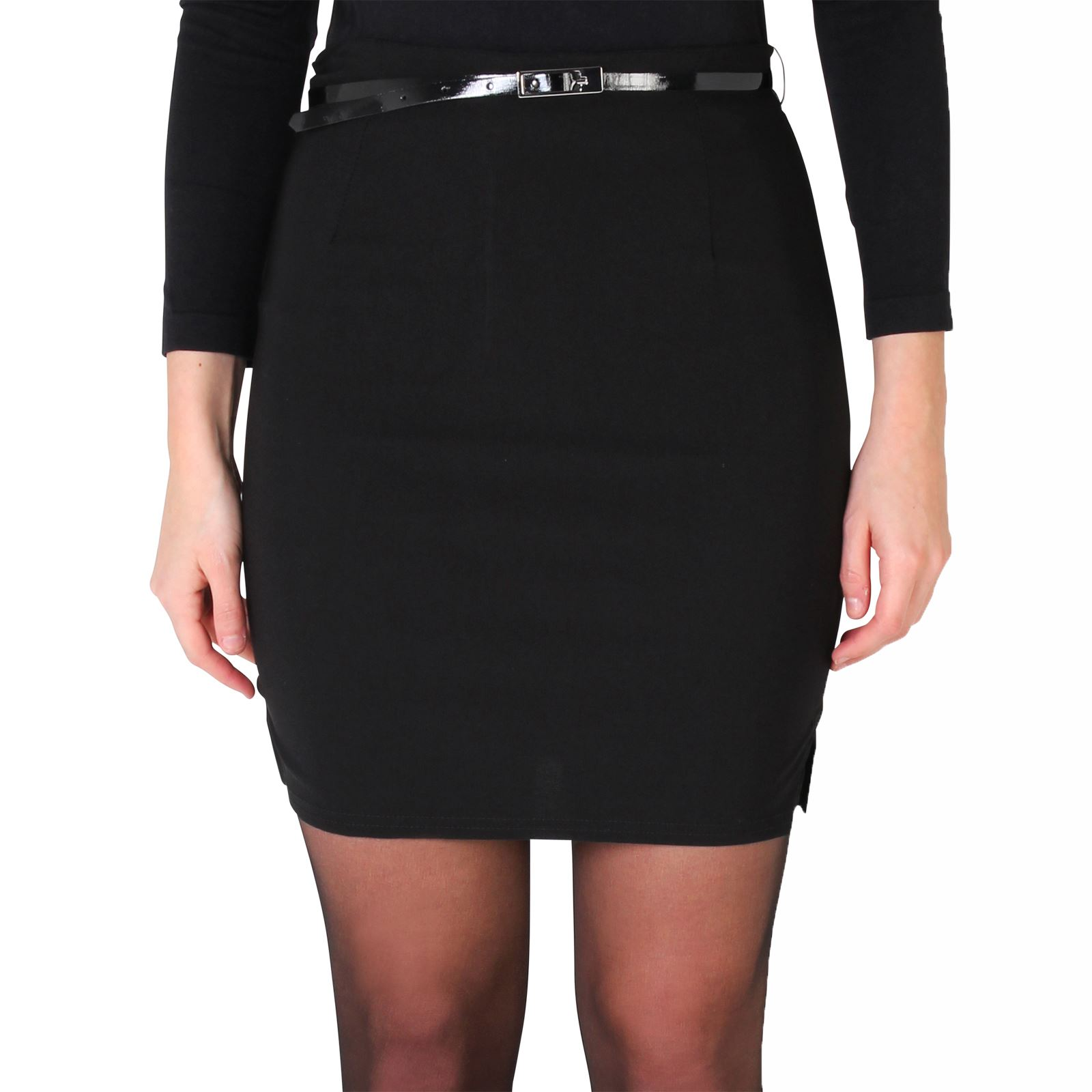 Womens-Belted-Fitted-Stretch-Pencil-Short-Mini-Skirt-Formal-Business-Evening thumbnail 3
