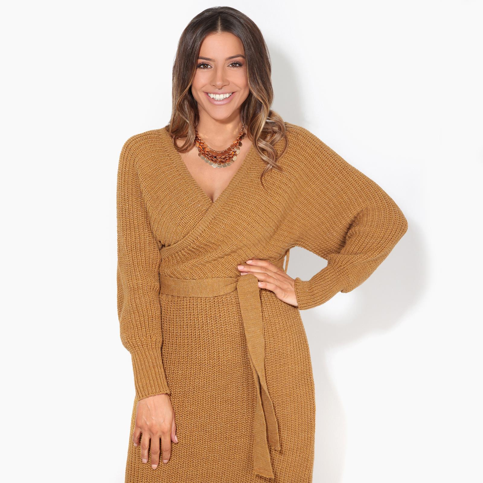 Womens-Ladies-Jumper-Dress-Chunky-Knit-Wrap-V-Neck-Maxi-Long-Sleeve-Winter-Top thumbnail 9