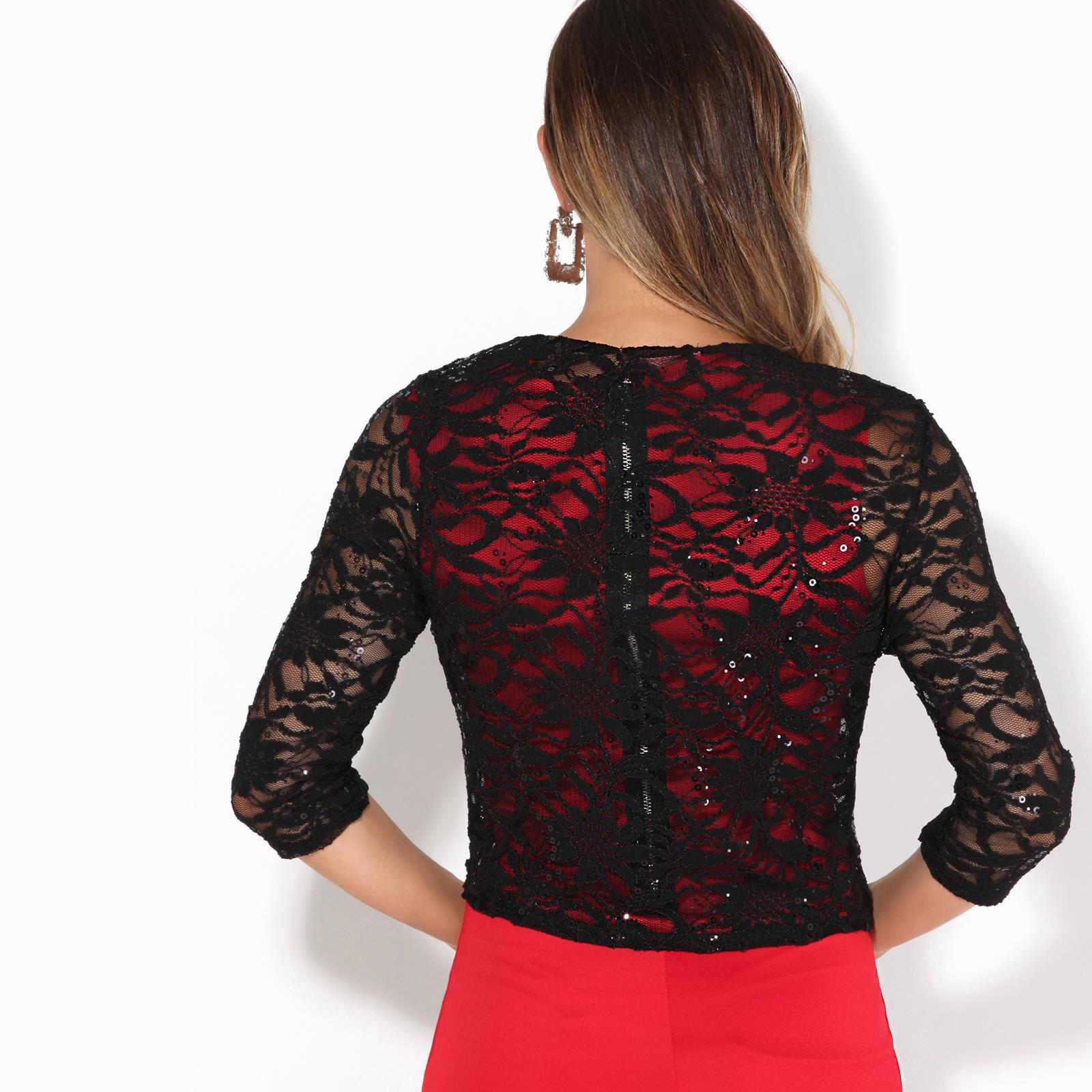 Women-Ladies-Sequin-Lace-Party-Shrug-Evening-Bolero-Cocktail-Jacket-Wrap-Wedding thumbnail 3
