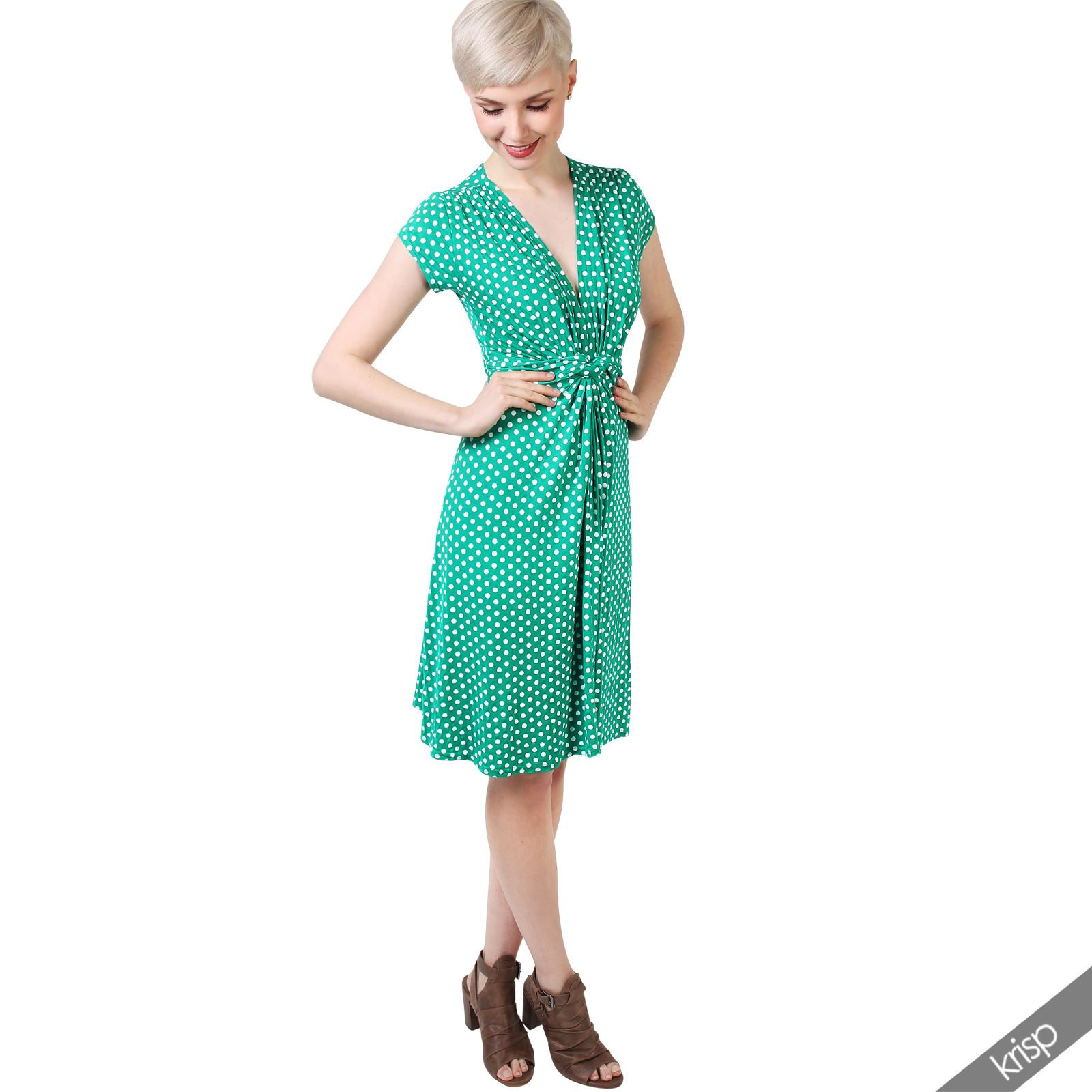 Womens-Polka-Dot-Dress-Pleated-Skirt-Wrap-Front-Mini-V-Neck-Top-Swing thumbnail 12