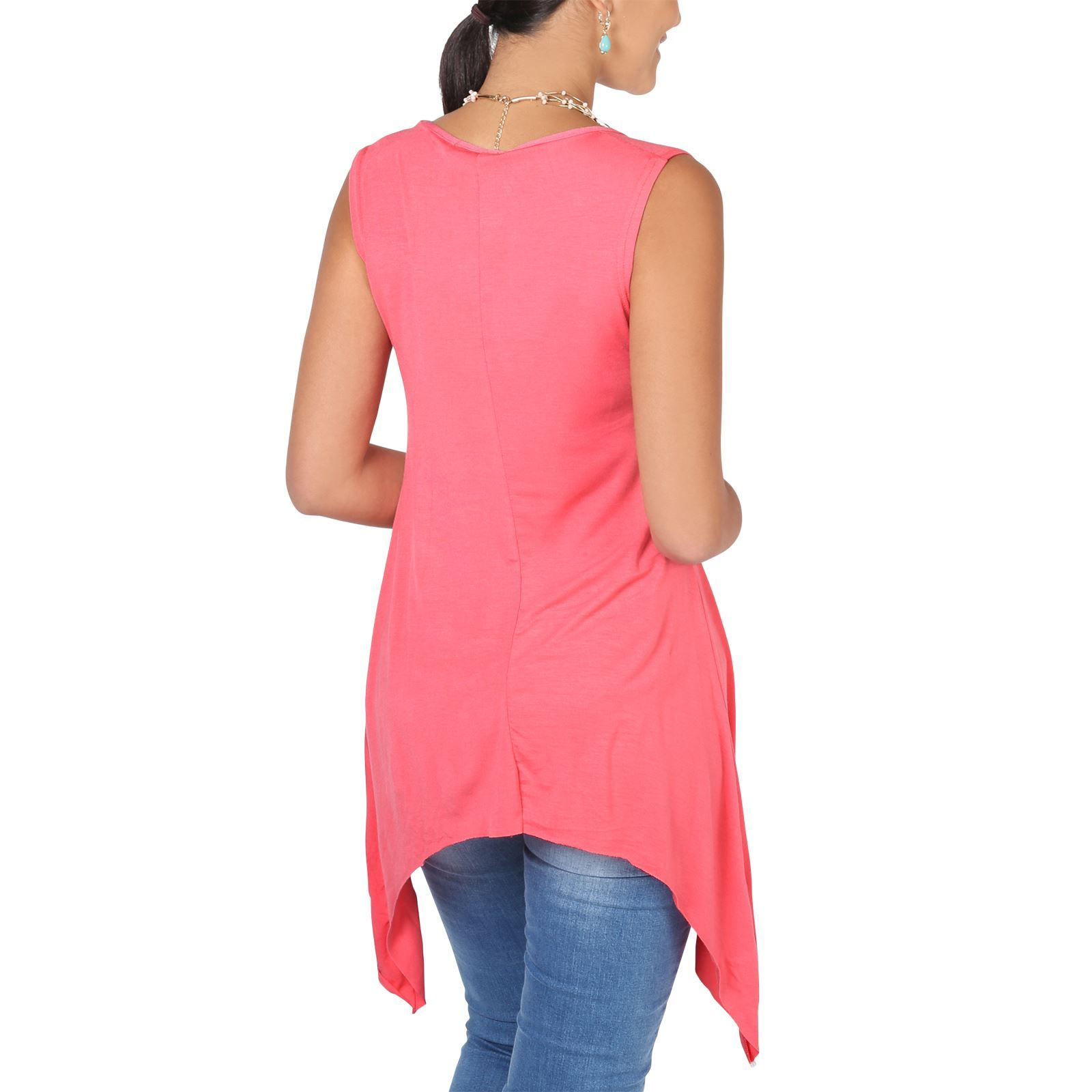 Women-Long-Top-Sleeveless-Pleated-Tee-Shirt-Tunic-Jersey-Stretch-Loose-Fit thumbnail 11