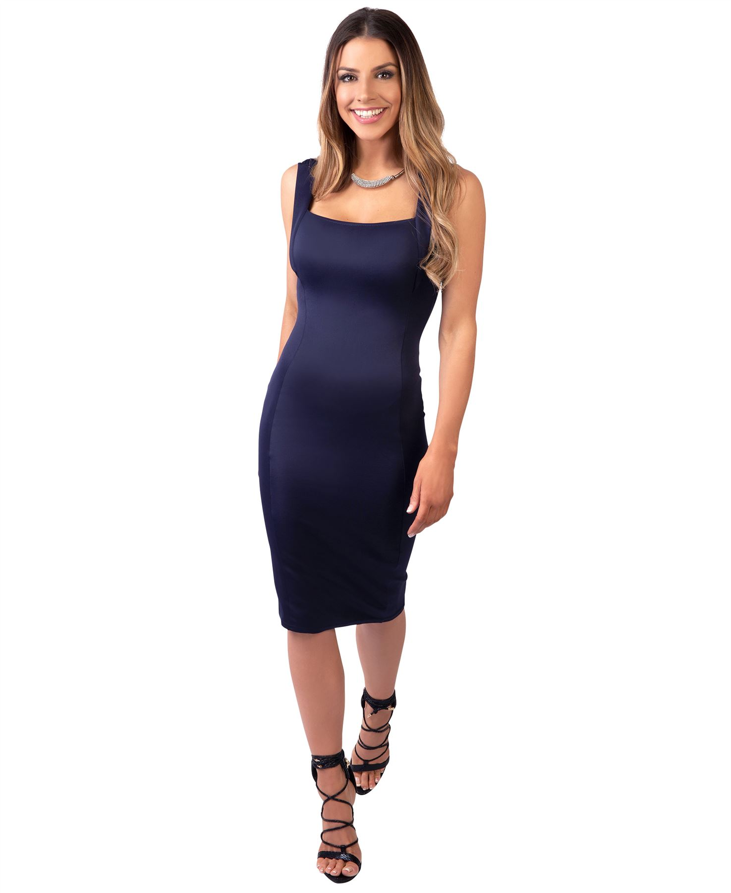 Womens-Pencil-Midi-Bodycon-Dress-Square-Neck-Panelled-Sexy-Zip-Party-Evening thumbnail 17