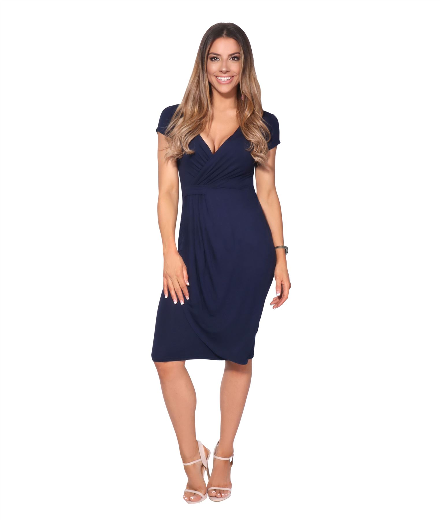 Womens-Ladies-V-Neck-Wrap-Midi-Dress-Front-Pleated-Skirt-Top-Cap-Sleeve-Party thumbnail 15