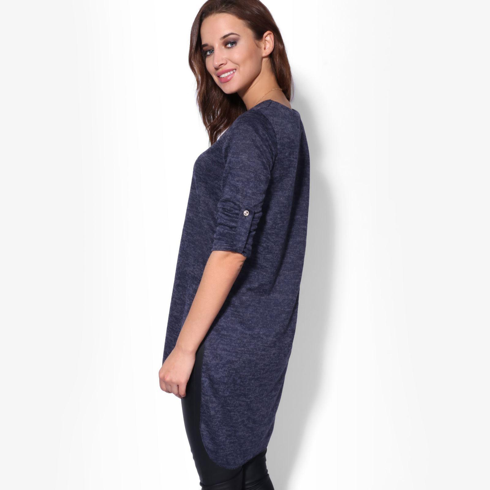 3f4549c6b130ed Womens Ladies Fluffy Knit Oversized Long Hi Low Sweater Tunic Top Jumper  Dress. Longline ...