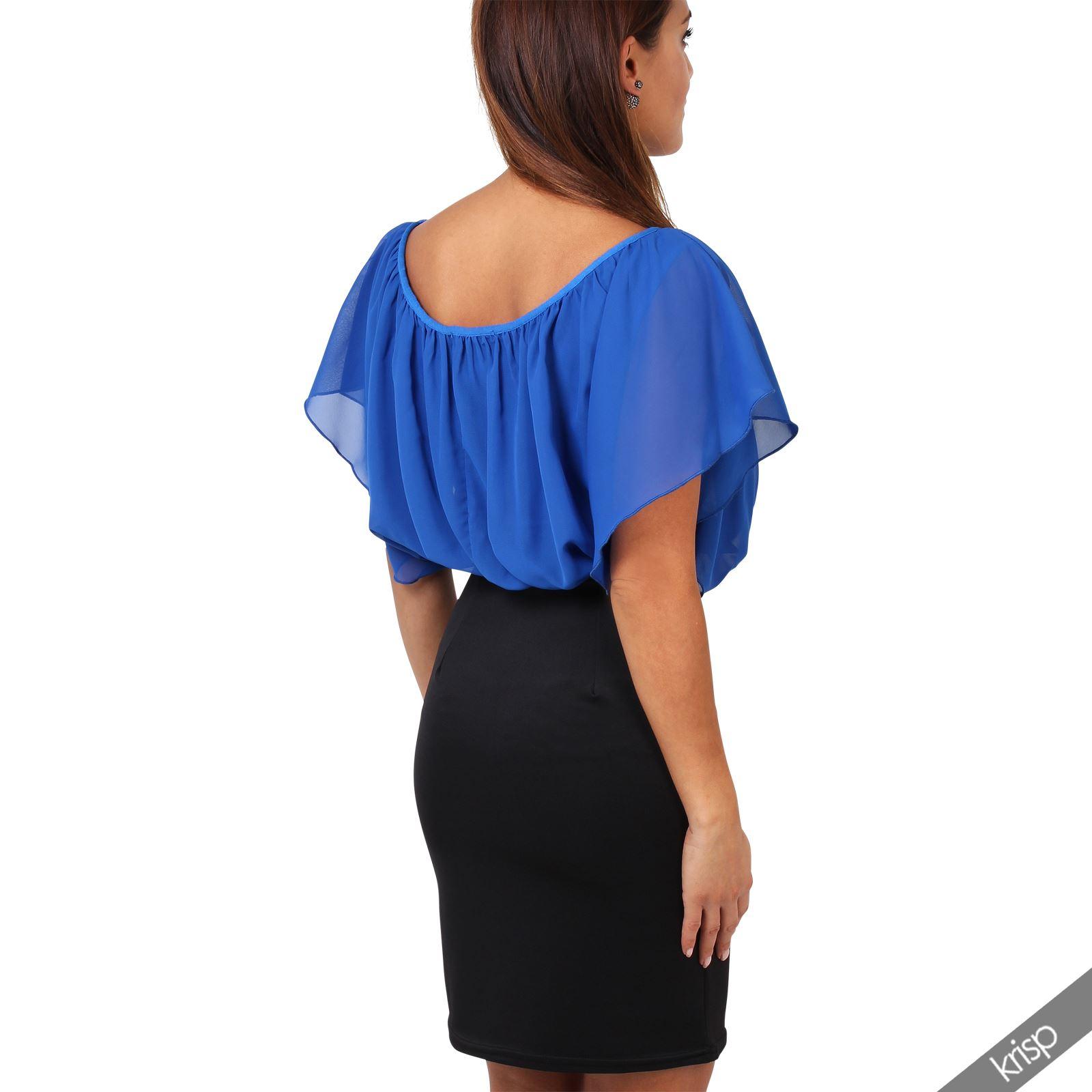 Womens-Pleated-Chiffon-Batwing-Top-High-Waist-Pencil-Bodycon-Skirt-Mini-Dress thumbnail 28