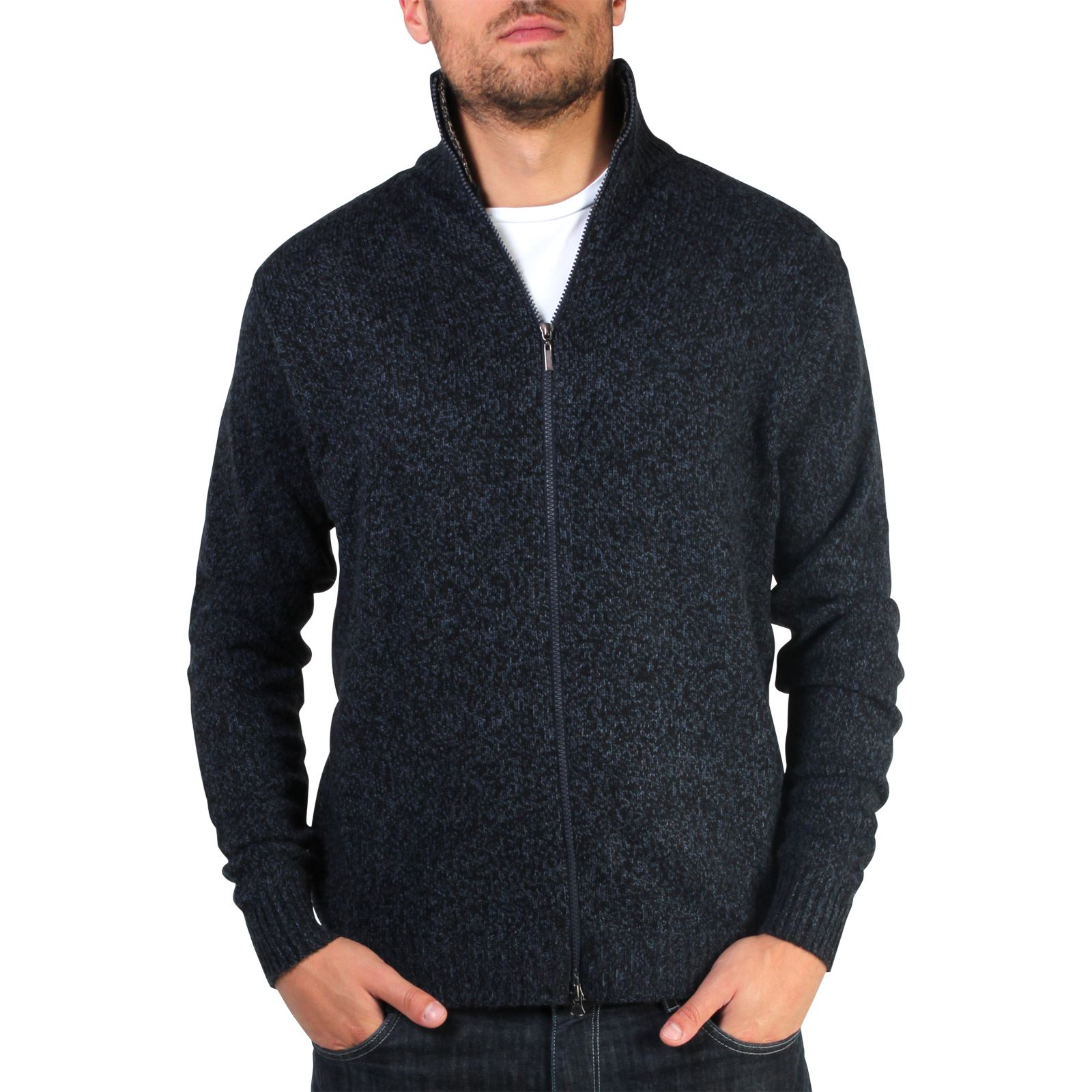 Mens-Wool-Jumper-Winter-Sweater-Zip-Up-Funnel-Neck-Soft-Knit-Cardigan-Top thumbnail 13