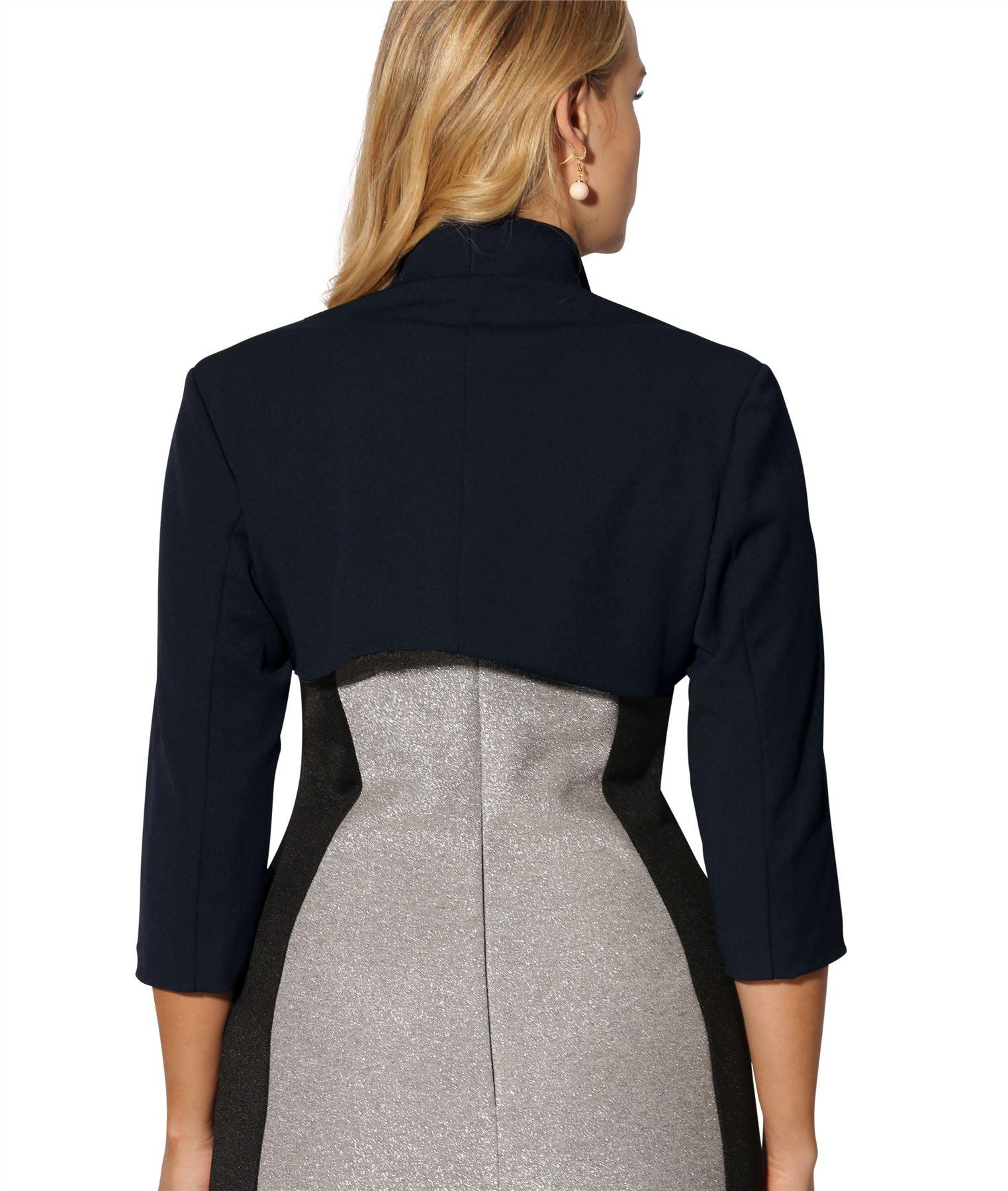 Womens-Tailored-Bolero-Shrug-Cropped-Top-Short-Sleeve-Party-Blazer-Jacket-Coat thumbnail 7
