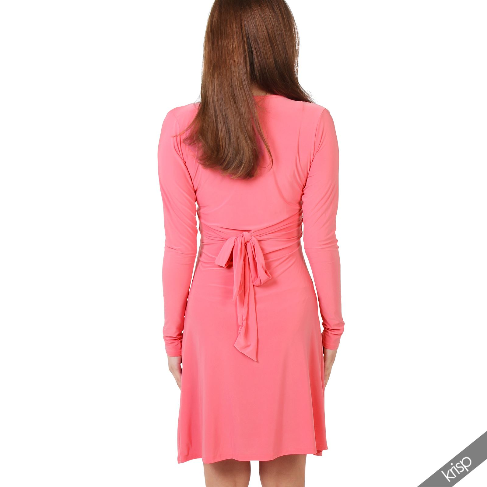 Womens-Ladies-V-Neck-Dress-Knee-Length-Mini-Ruched-Pleated-Swing-Top-Party thumbnail 33