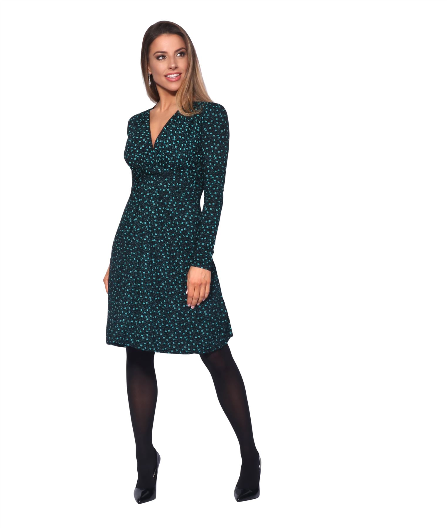 Womens-Ladies-Pattern-Dress-Drape-Print-Stretch-Long-Sleeve-Ruched-Knot-Party thumbnail 12