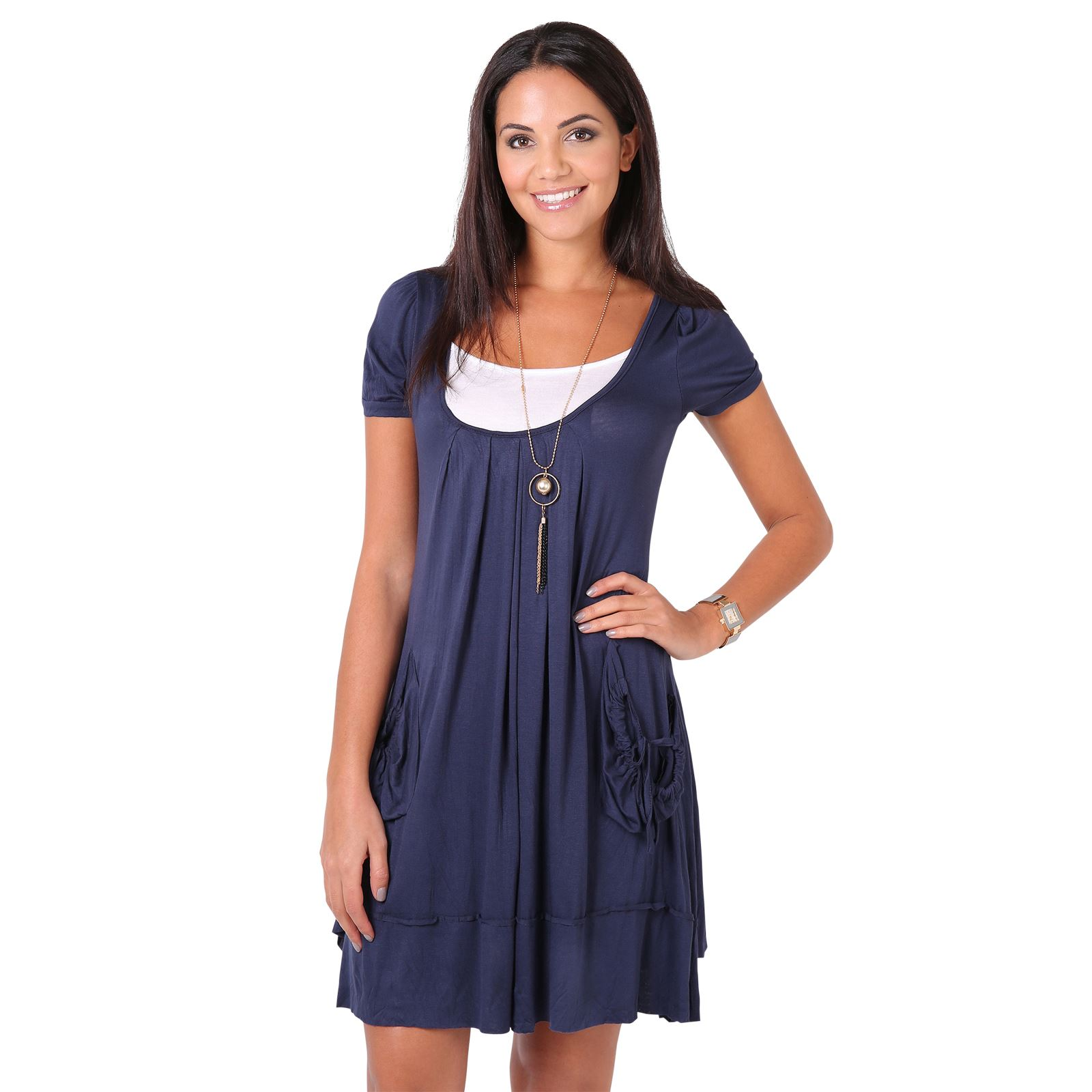 femmes top tunique robe manche courte col rond ample large tendance boho mode ebay. Black Bedroom Furniture Sets. Home Design Ideas