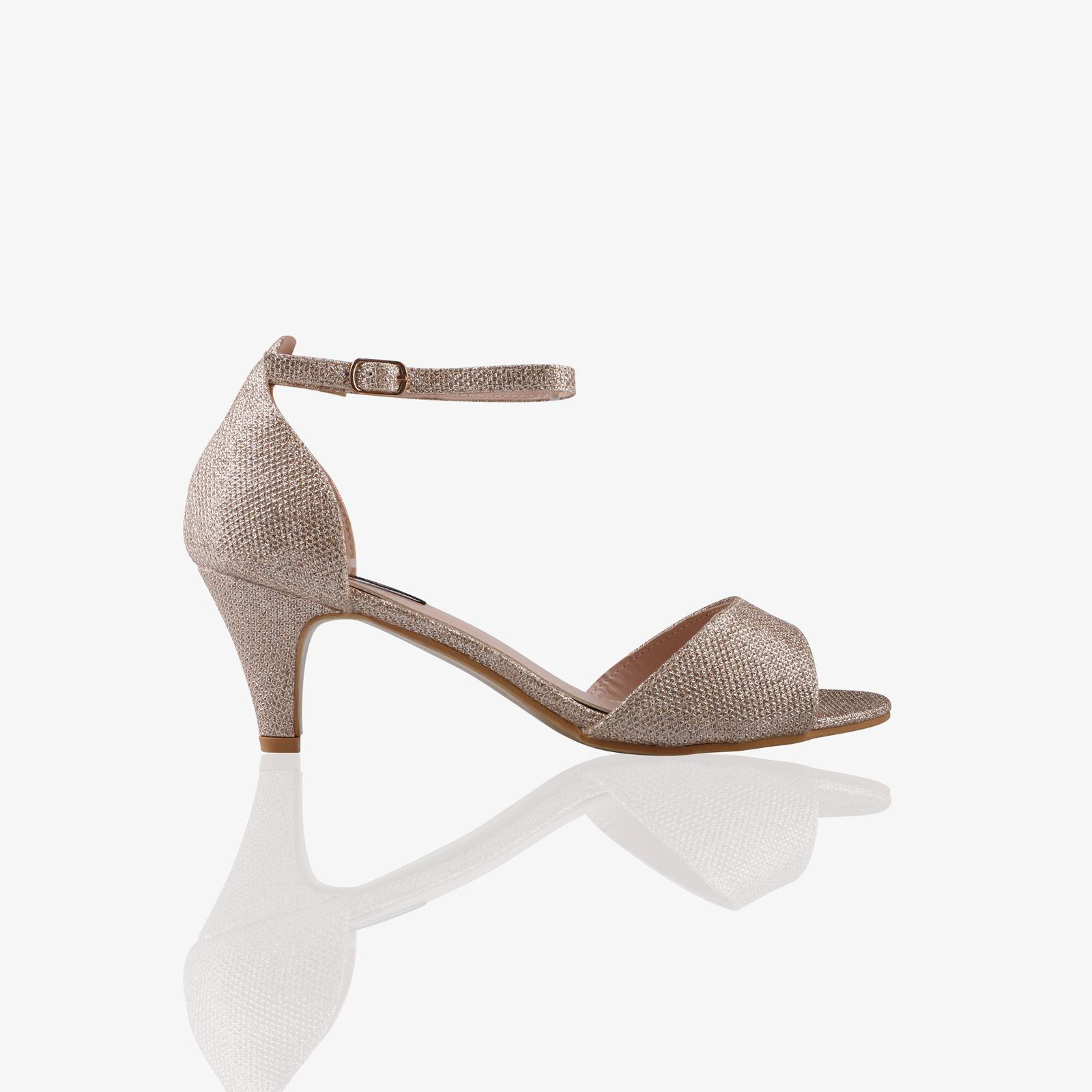 Details about Women Ladies Low Kitten Heel Court Shoes Open Toe Glitter Sandals Party Bridal