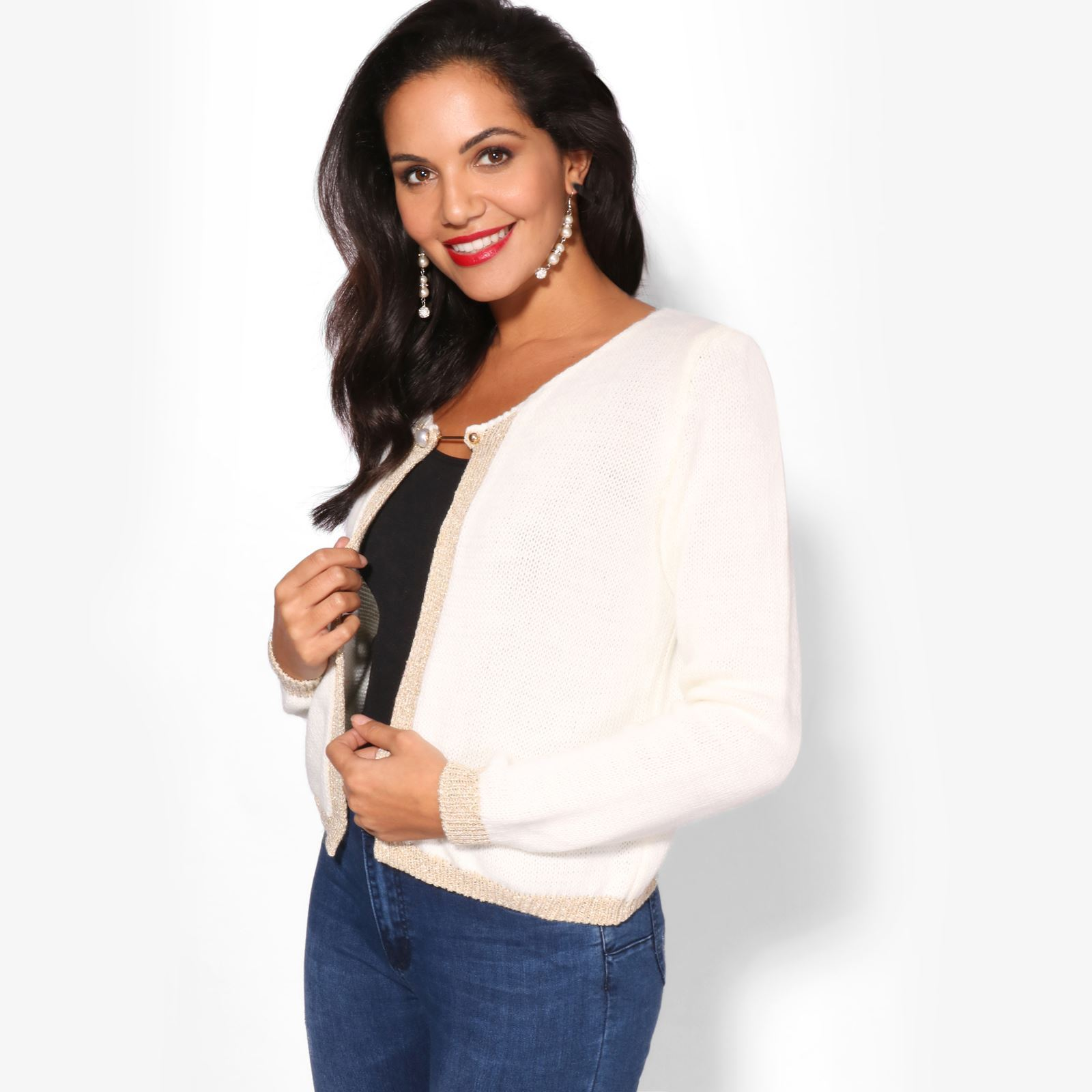 a89383ab4c Women Ladies Chunky Knit Winter Cardigan Jumper Work Sweater Cropped Shrug  Top