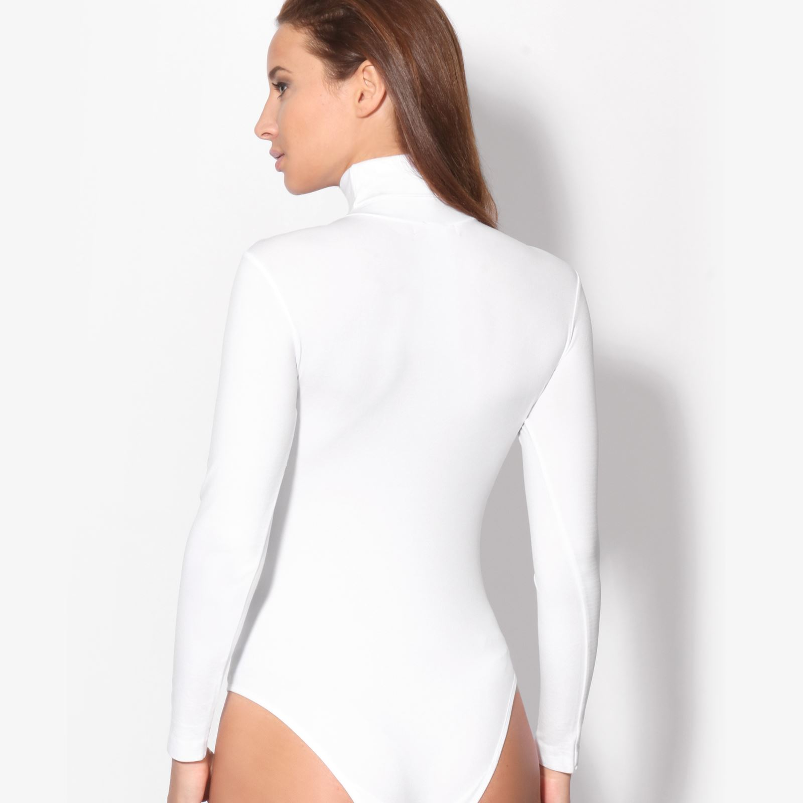Women-Ladies-Plain-Long-Sleeve-Turtle-High-Roll-Neck-Bodysuit-Body-Top-Leotard thumbnail 5