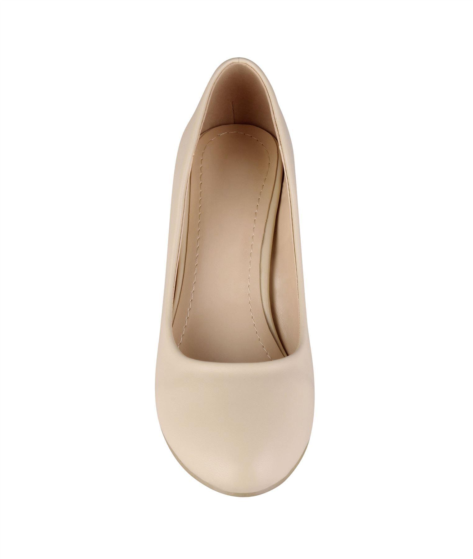 Womens-Ladies-Mid-Heel-Court-Shoes-Slip-On-Low-Kitten-Heels-Pumps-Matte-Size-3-8 thumbnail 4