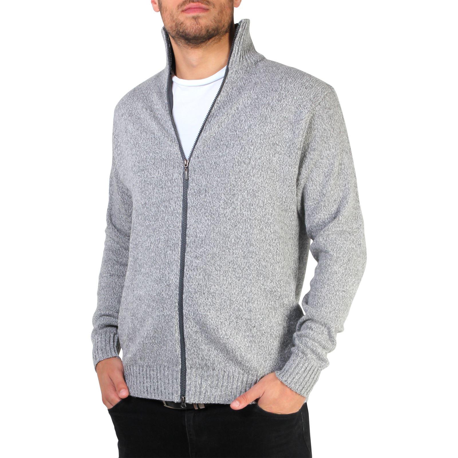 Mens-Wool-Jumper-Winter-Sweater-Zip-Up-Funnel-Neck-Soft-Knit-Cardigan-Top thumbnail 9