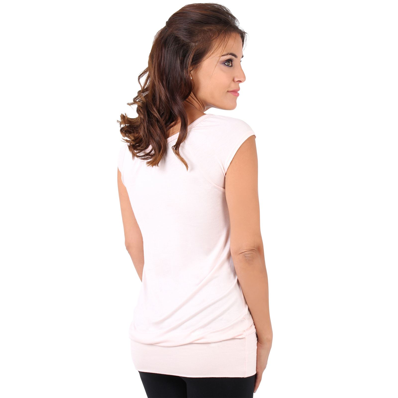 Womens-Ladies-Plain-T-Shirt-Short-Sleeve-Long-Loose-V-Neck-Blouse-Tunic-Top thumbnail 40