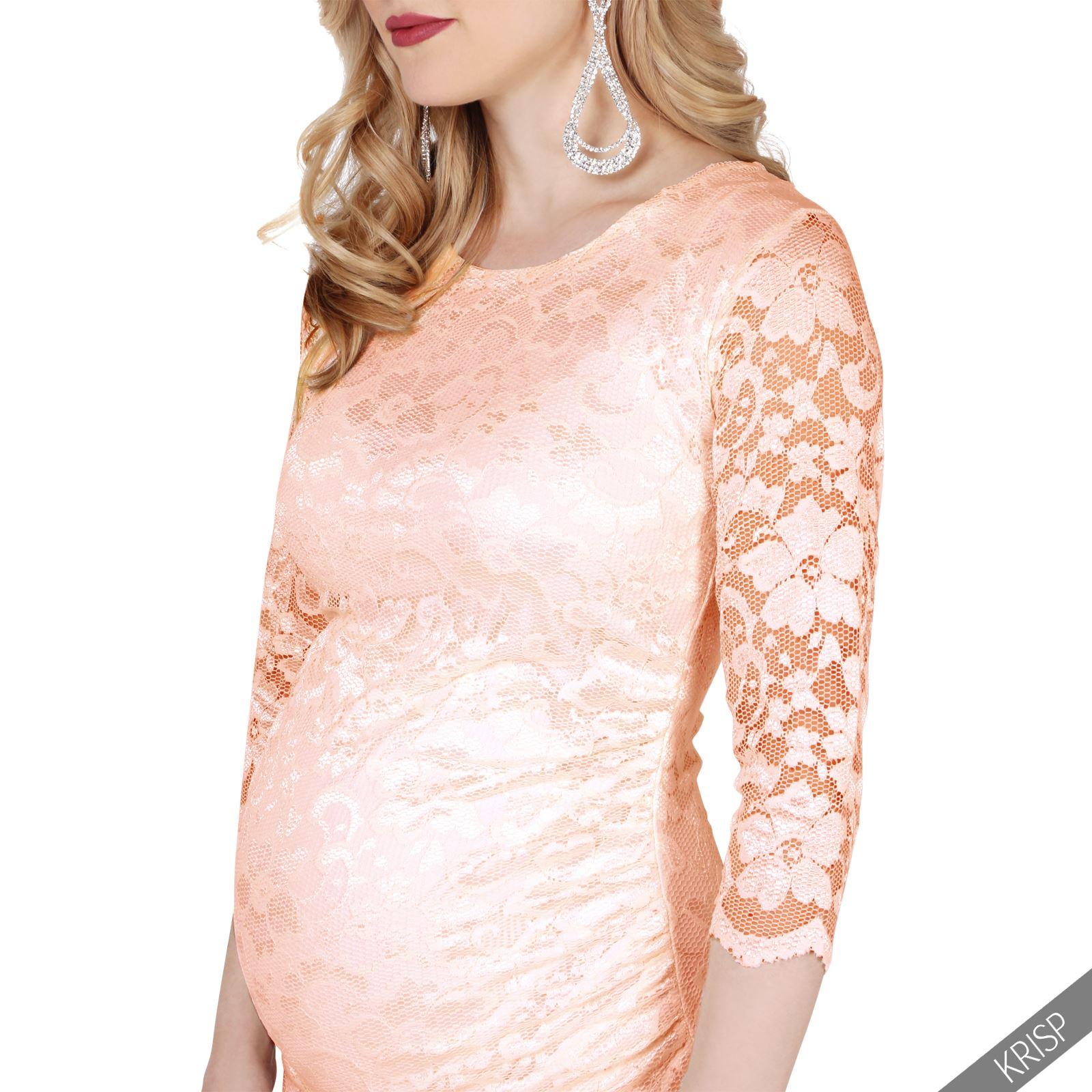 Femmes-Robe-Crayon-Midi-Dentelle-Crochet-Fleurs-Floral-Maternite-Mamans-Cocktail