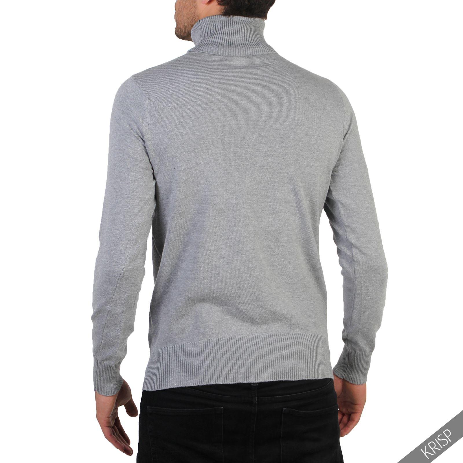 Hommes-Pull-Col-Roule-Uni-Classique-Manche-Longue-Polo-T-Shirt-Slim-Fit-Coton miniature 5