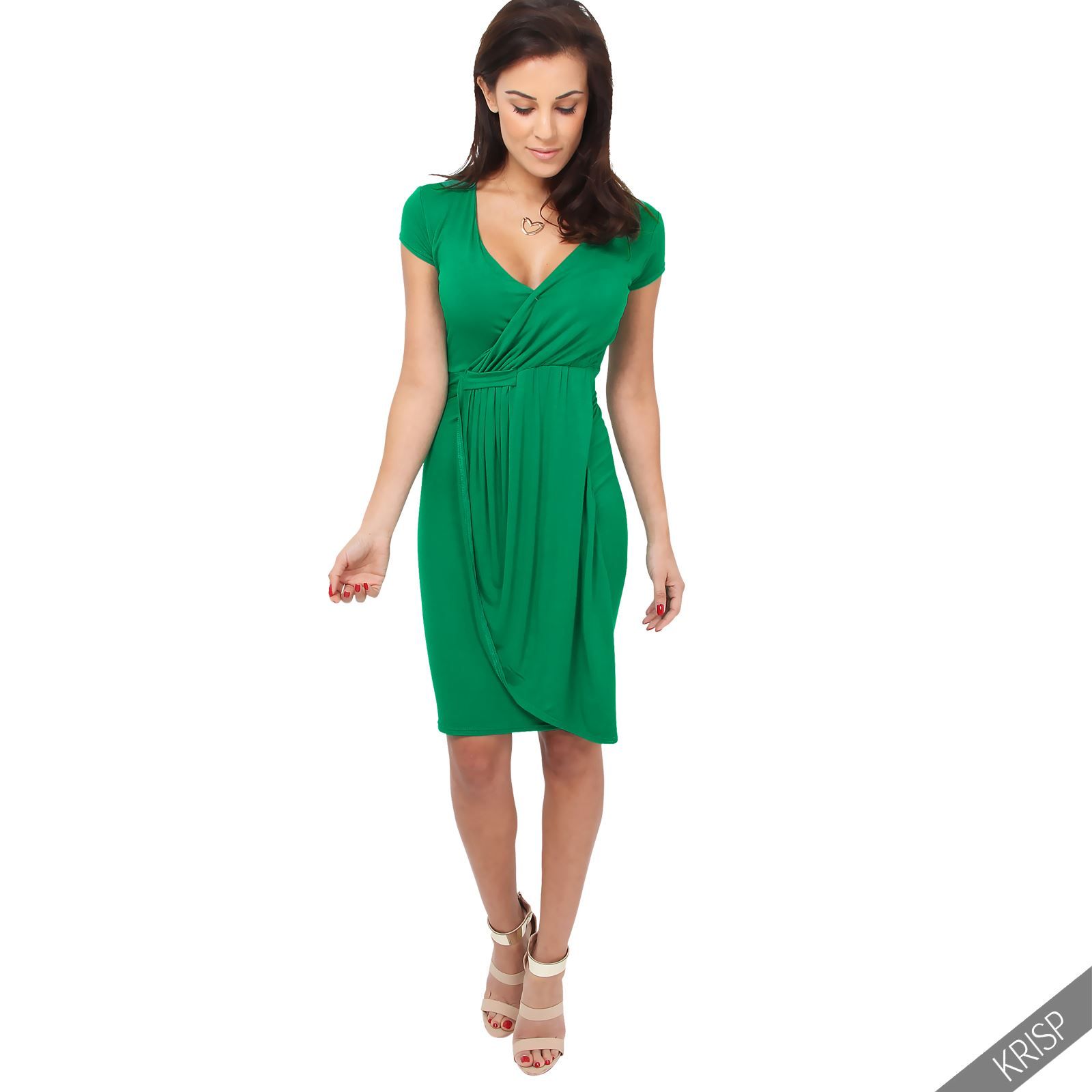 Womens-Ladies-V-Neck-Wrap-Midi-Dress-Front-Pleated-Skirt-Top-Cap-Sleeve-Party thumbnail 9