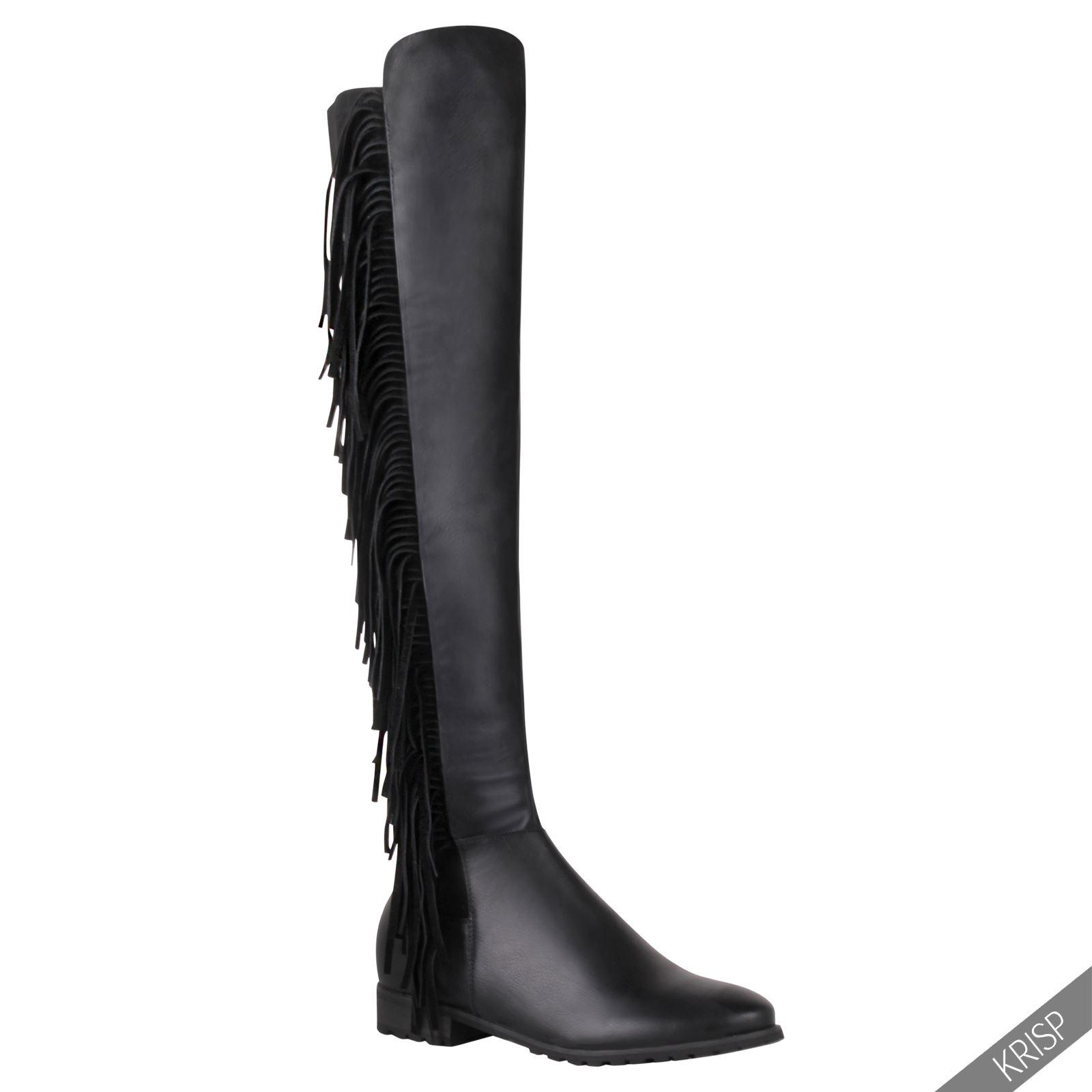 femmes bottes cuissardes noir cuir franges booties chaussures