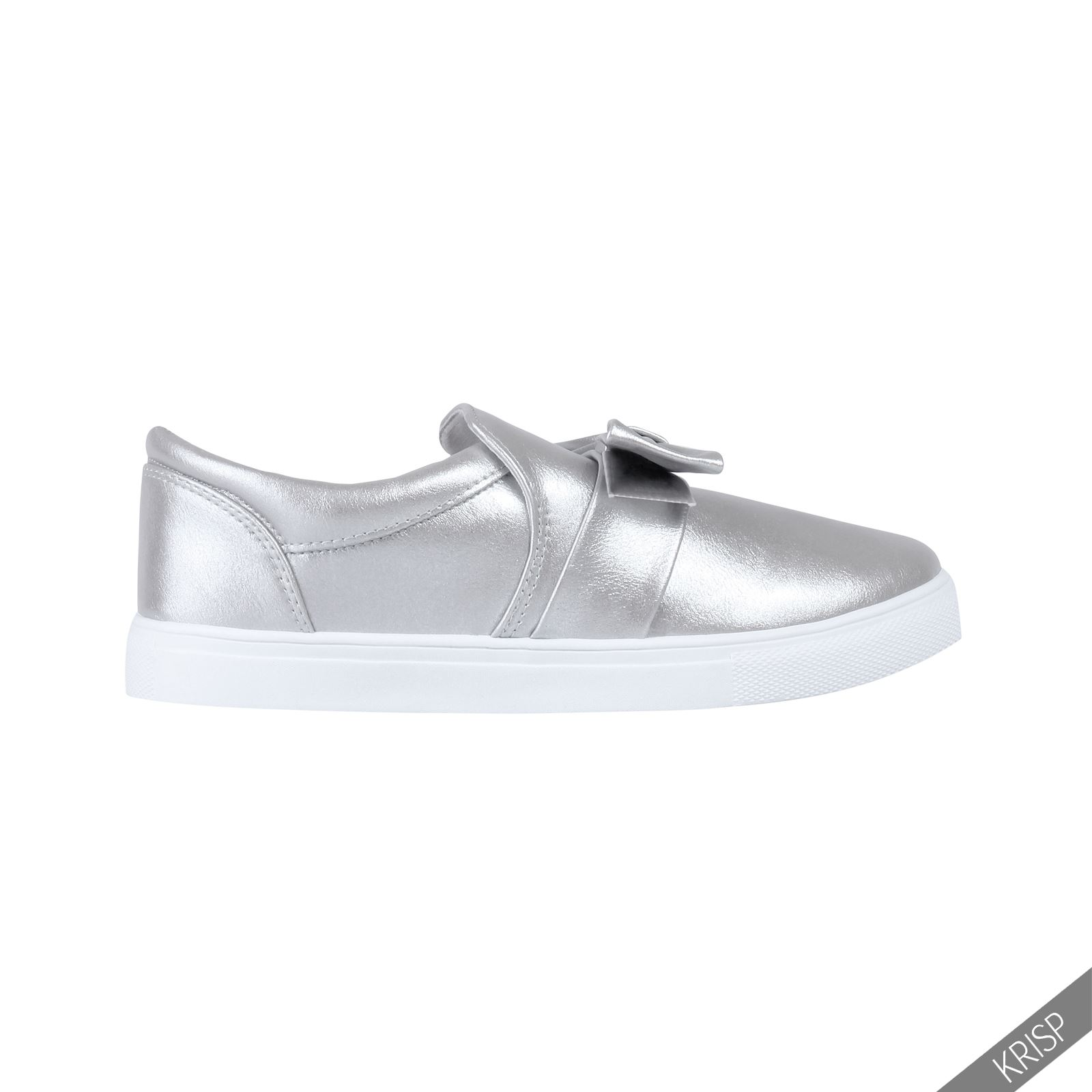 Damen Frauen Jeans Denim Stoff Schuhe Schleife Breite Sohle Sneaker Halbschuhe