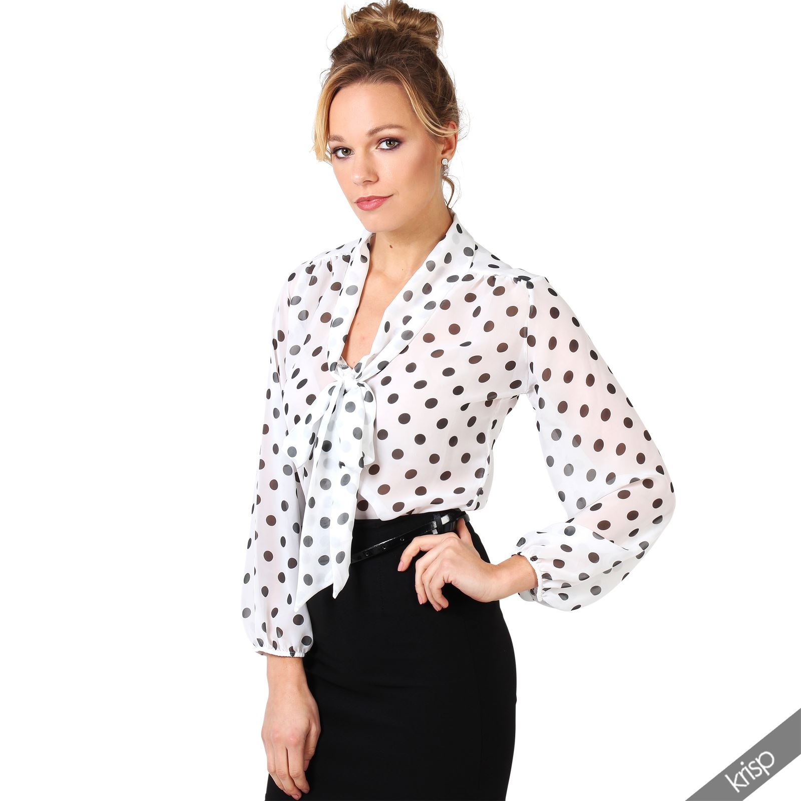 Iets Nieuws Women Retro Polka Dot Pleated Pussy Bow Tie Chiffon Blouse Top @VE97