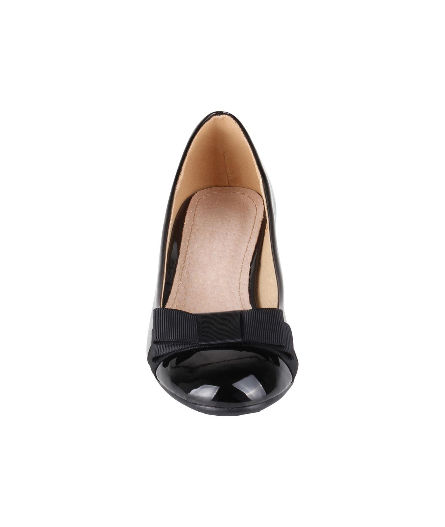 Damen-Elegante-Absatzschuhe-Hochlganz-Pumps-Blockabsatz-Ballerina-Schuhe-Chic Indexbild 24