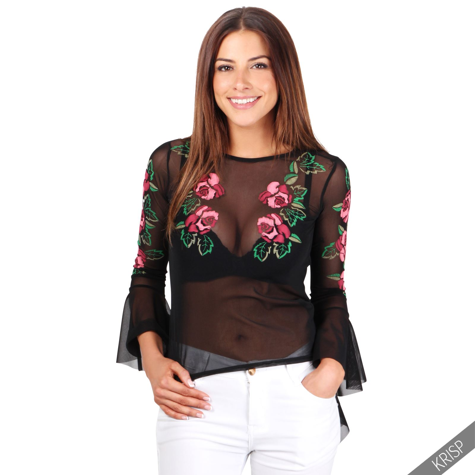Womens ladies boho frill ruffle long sleeve embroidered for Embroidered mesh t shirt