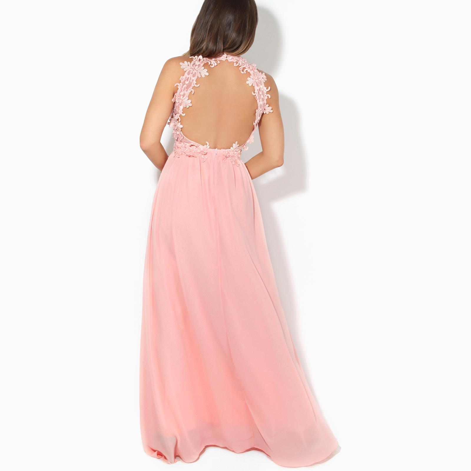 Women-Lace-Halterneck-Maxi-Dress-Long-Evening-Cocktail-Ball-Gown-Formal-Party thumbnail 10