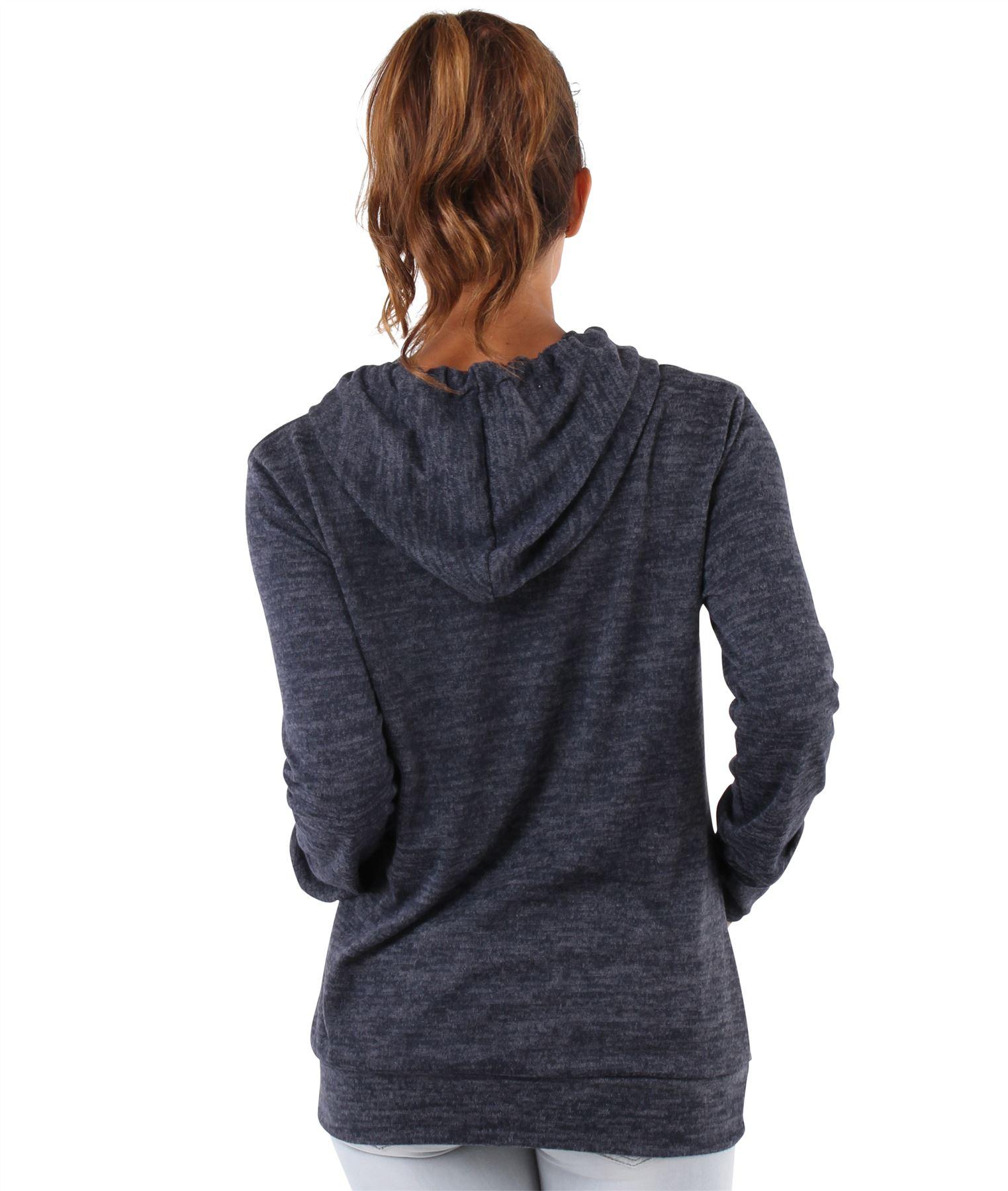 Womens-Soft-Marl-Knit-Hoodie-Hooded-Loose-Baggy-Jumper-Sweater-Top-Sweatshirt thumbnail 7