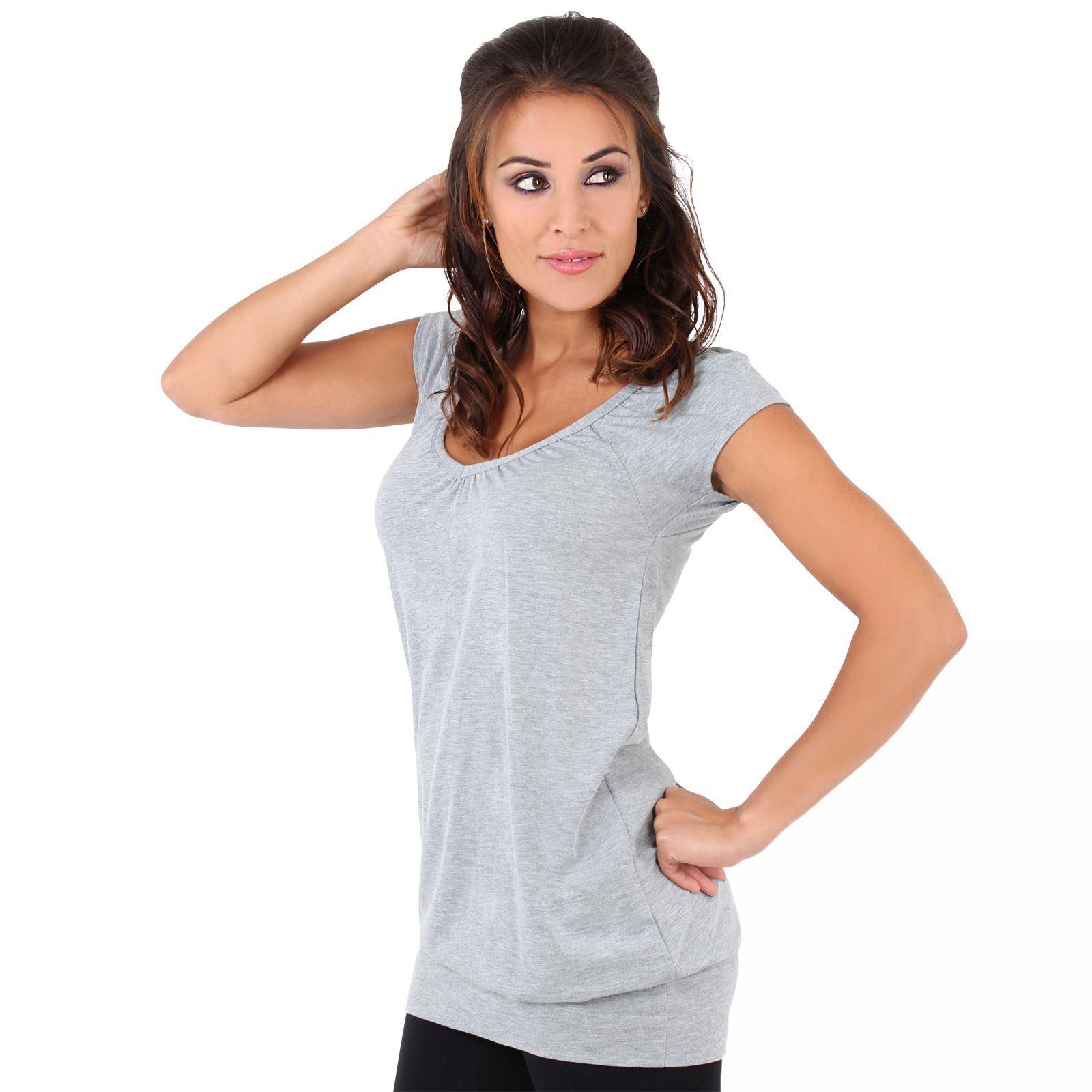 Womens-Ladies-Plain-T-Shirt-Short-Sleeve-Long-Loose-V-Neck-Blouse-Tunic-Top thumbnail 21