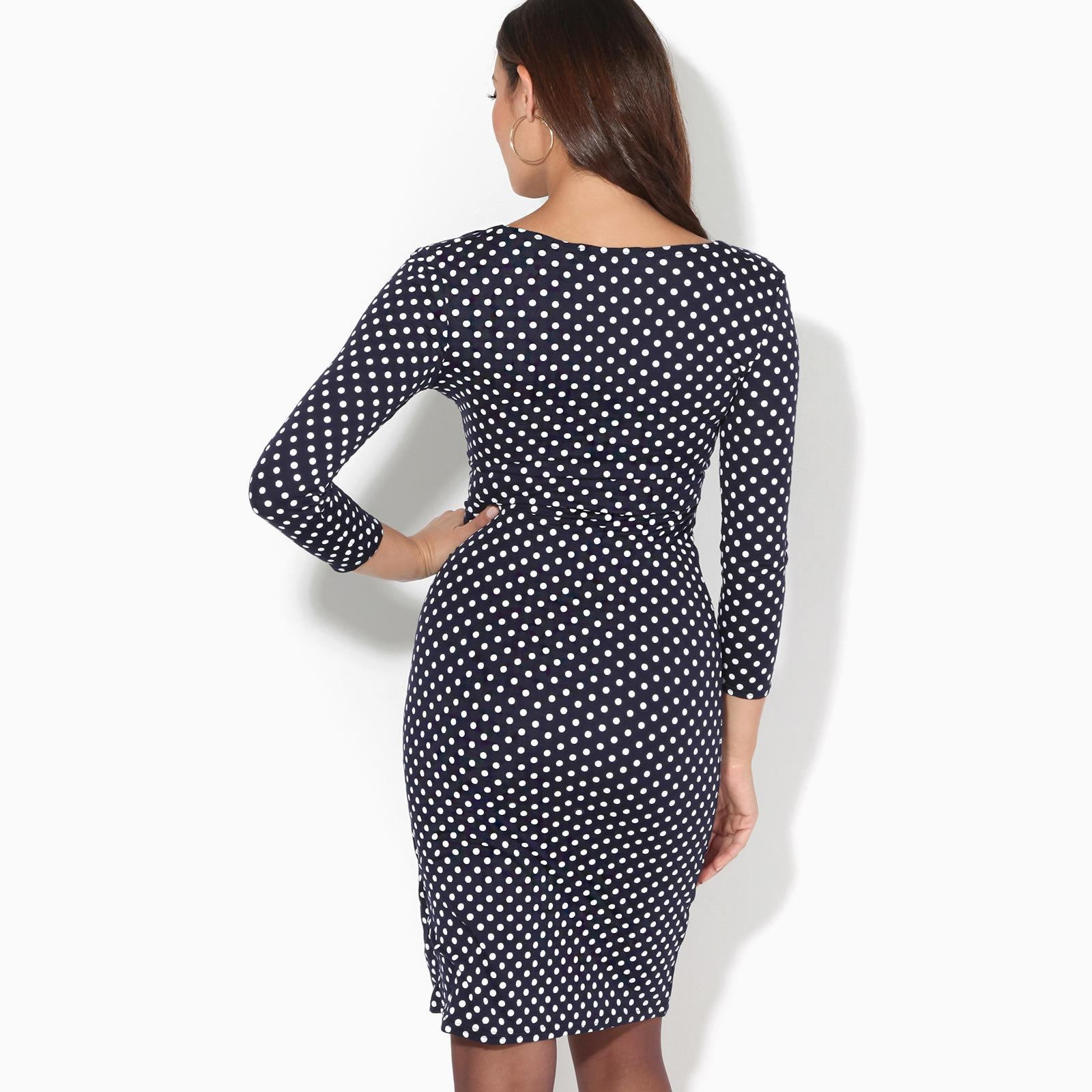 Womens-Polka-Dot-Dress-Pleated-Skirt-Wrap-Front-Midi-V-Neck-Top-Swing-Party thumbnail 19