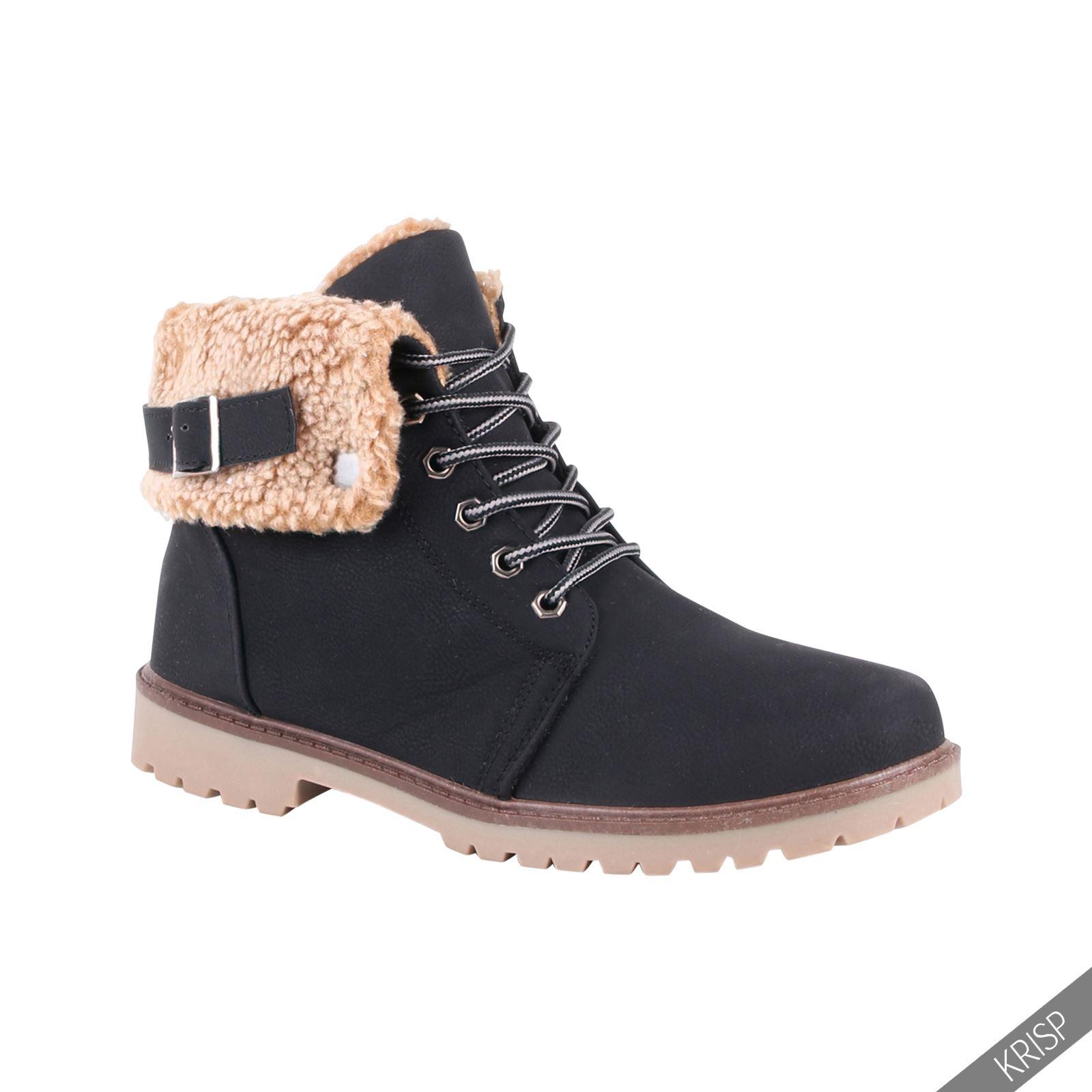 Botines-Mujer-Camel-Bota-Plana-Suela-Goma-Cordones-Casual-Otono-Invierno-Tacon miniatura 55