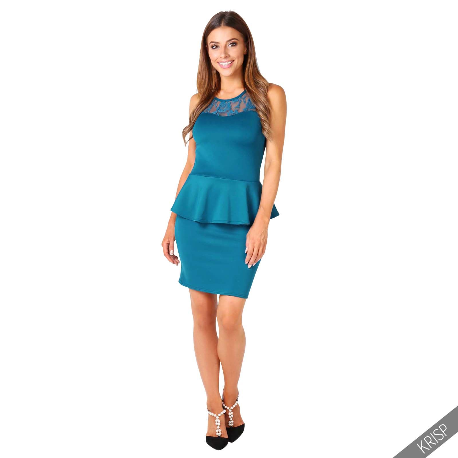 Womens Ladies Stretch Peplum Bodycon Lace Frill Mini Pencil Office ...