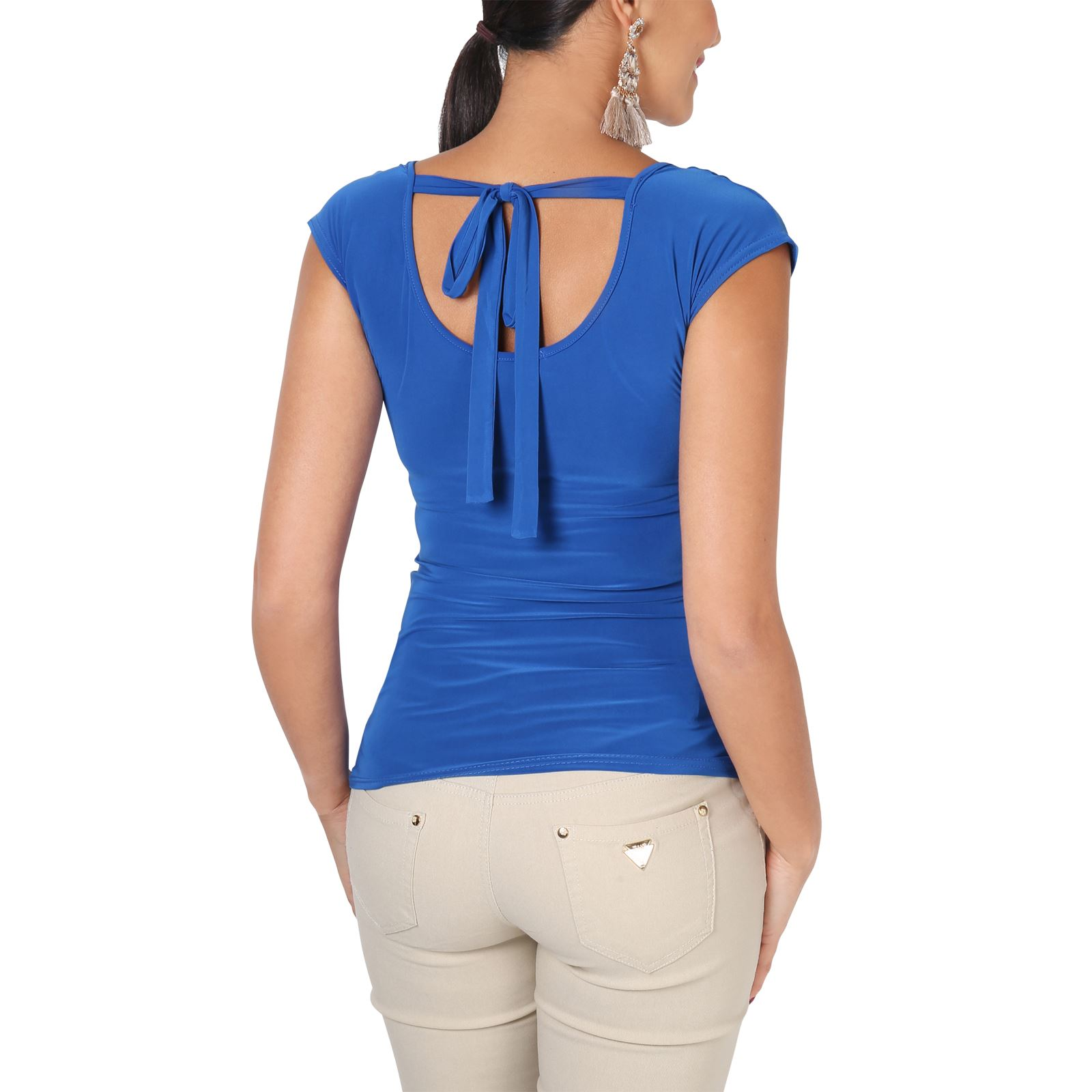 Womens-Ladies-Cowl-Neck-Blouse-Sleeveless-Stretch-Summer-Jersey-Top-Size-8-20 thumbnail 16