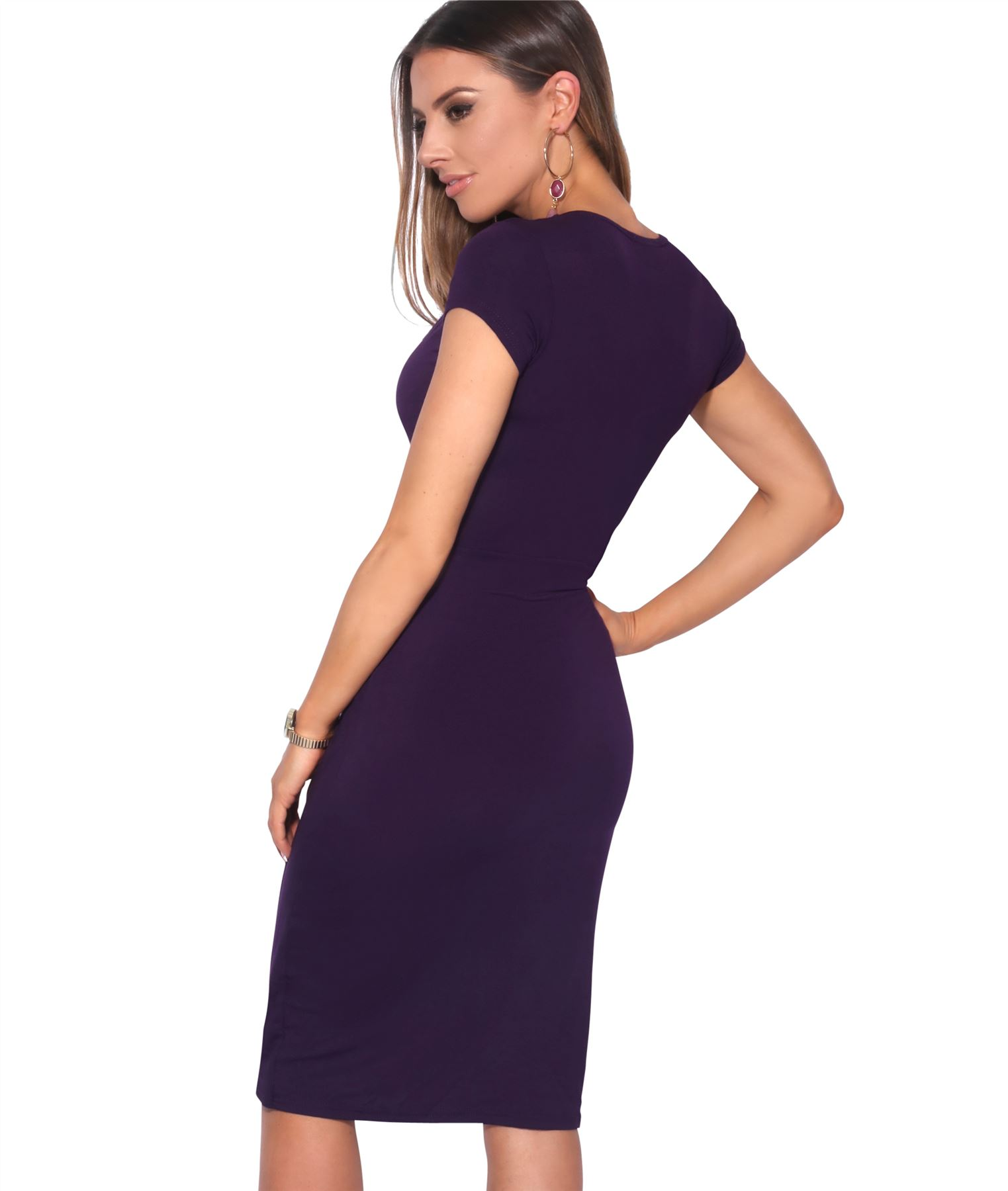 Womens-Ladies-V-Neck-Wrap-Midi-Dress-Front-Pleated-Skirt-Top-Cap-Sleeve-Party thumbnail 19