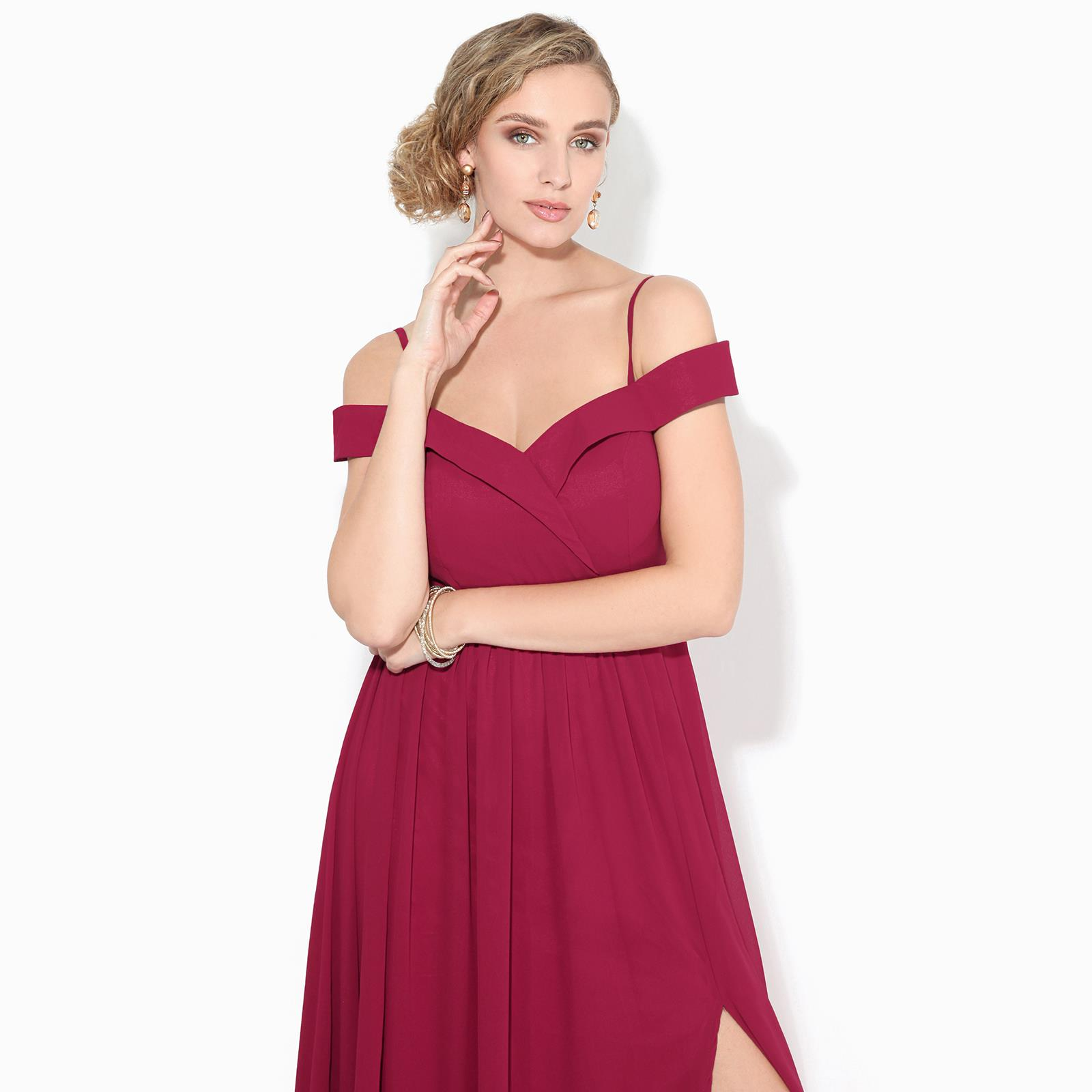 Womens-Ladies-Off-Shoulder-Formal-Maxi-Dress-Slit-Split-Long-Gown-Wedding-Party thumbnail 6